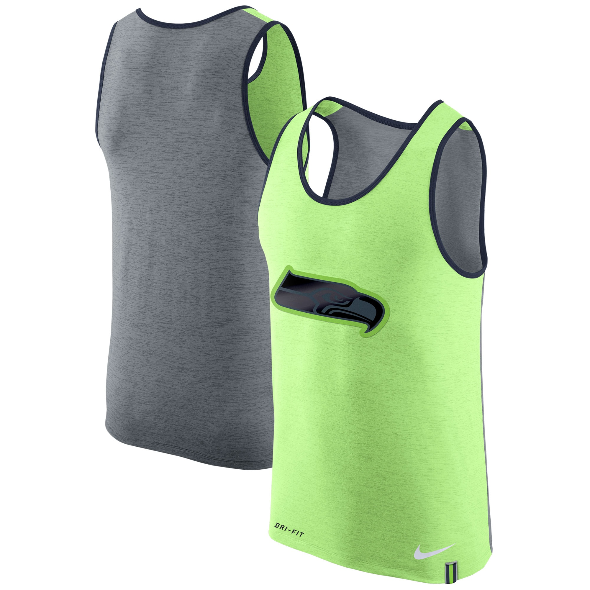 Seattle Seahawks Nike Colorblock Performance Tank Top - Neon Green/Heathered Gray