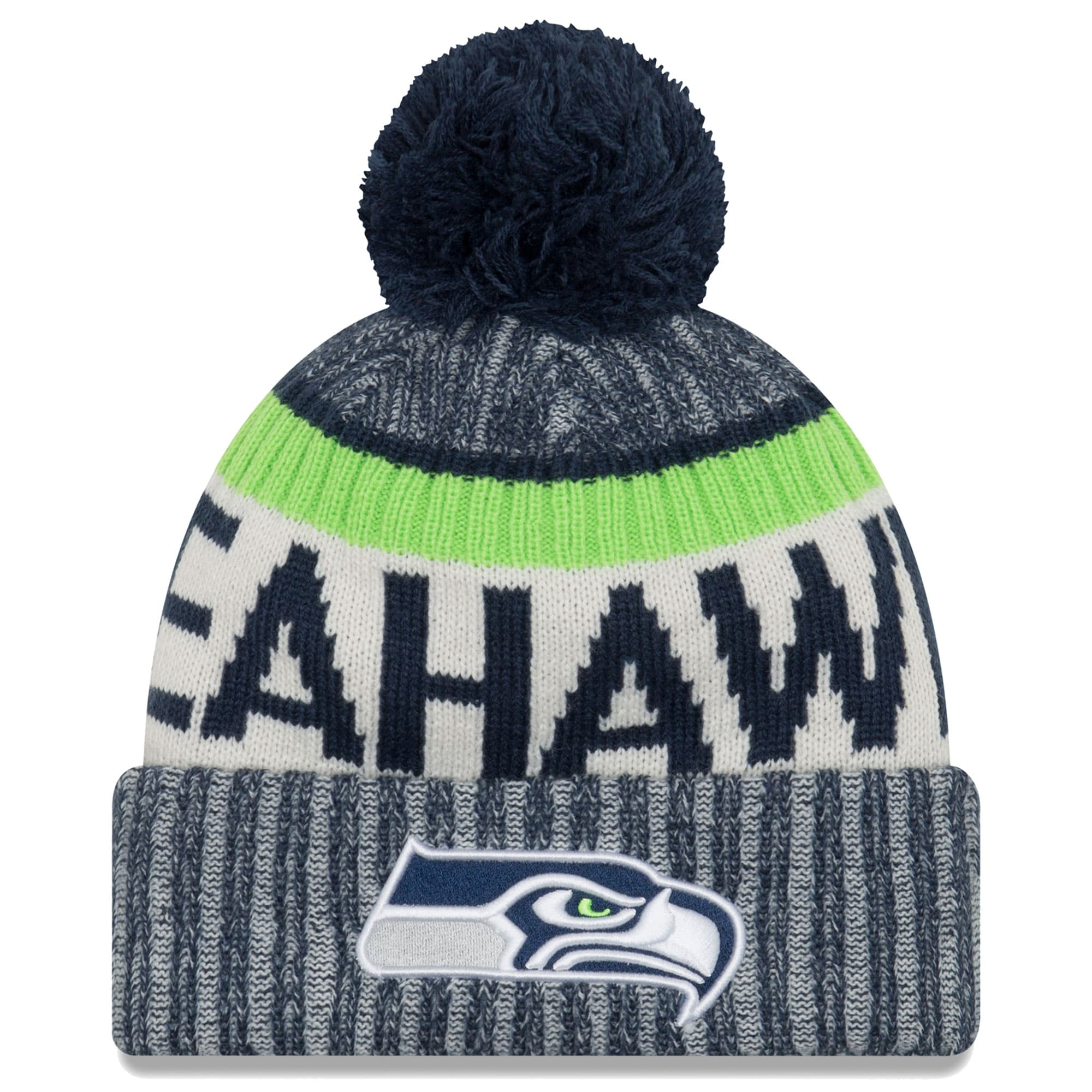 Seattle Seahawks New Era 2017 Sideline Official Sport Knit Hat - College Navy