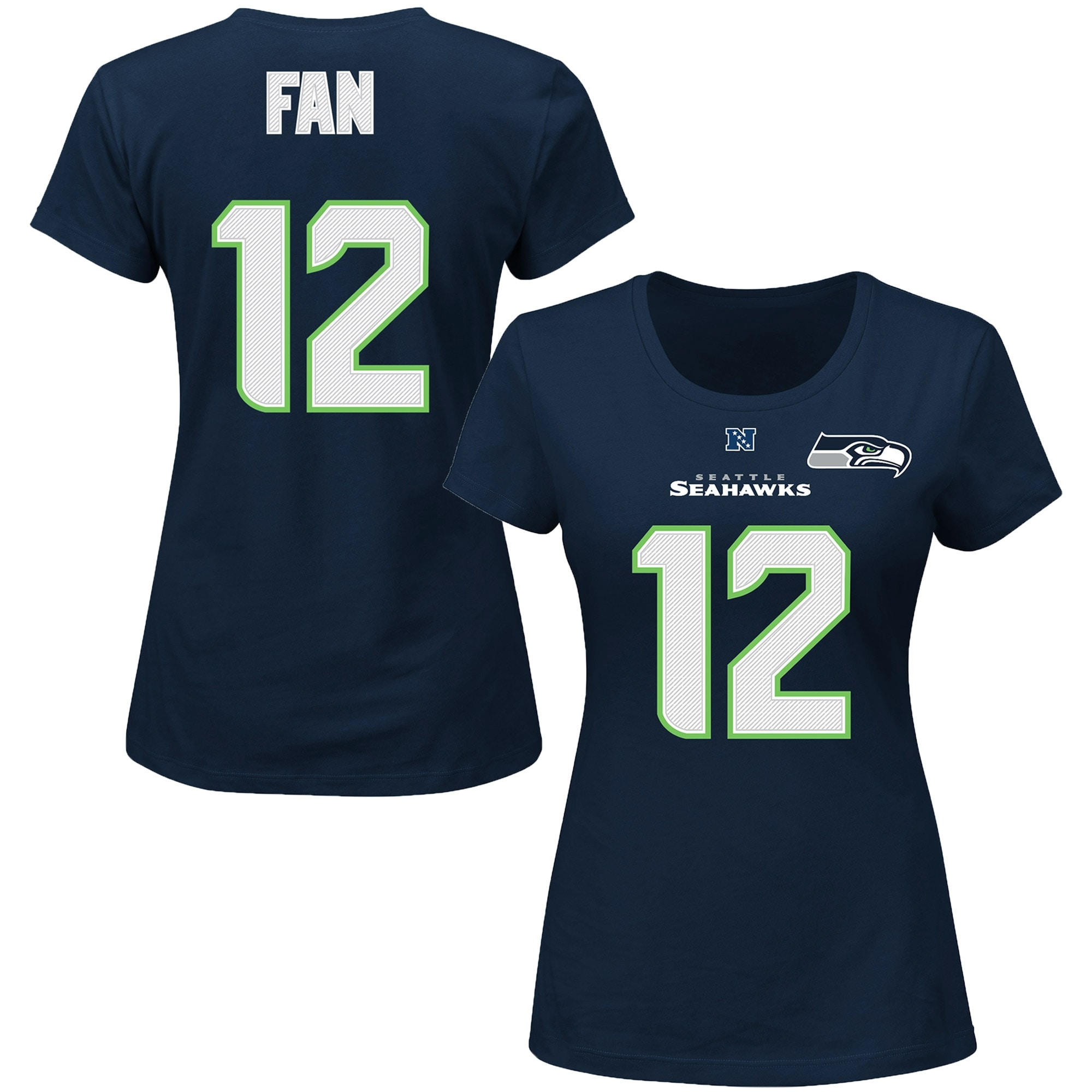 12s Seattle Seahawks Majestic Women's Plus Size Fair Catch Name & Number T-Shirt - College Navy