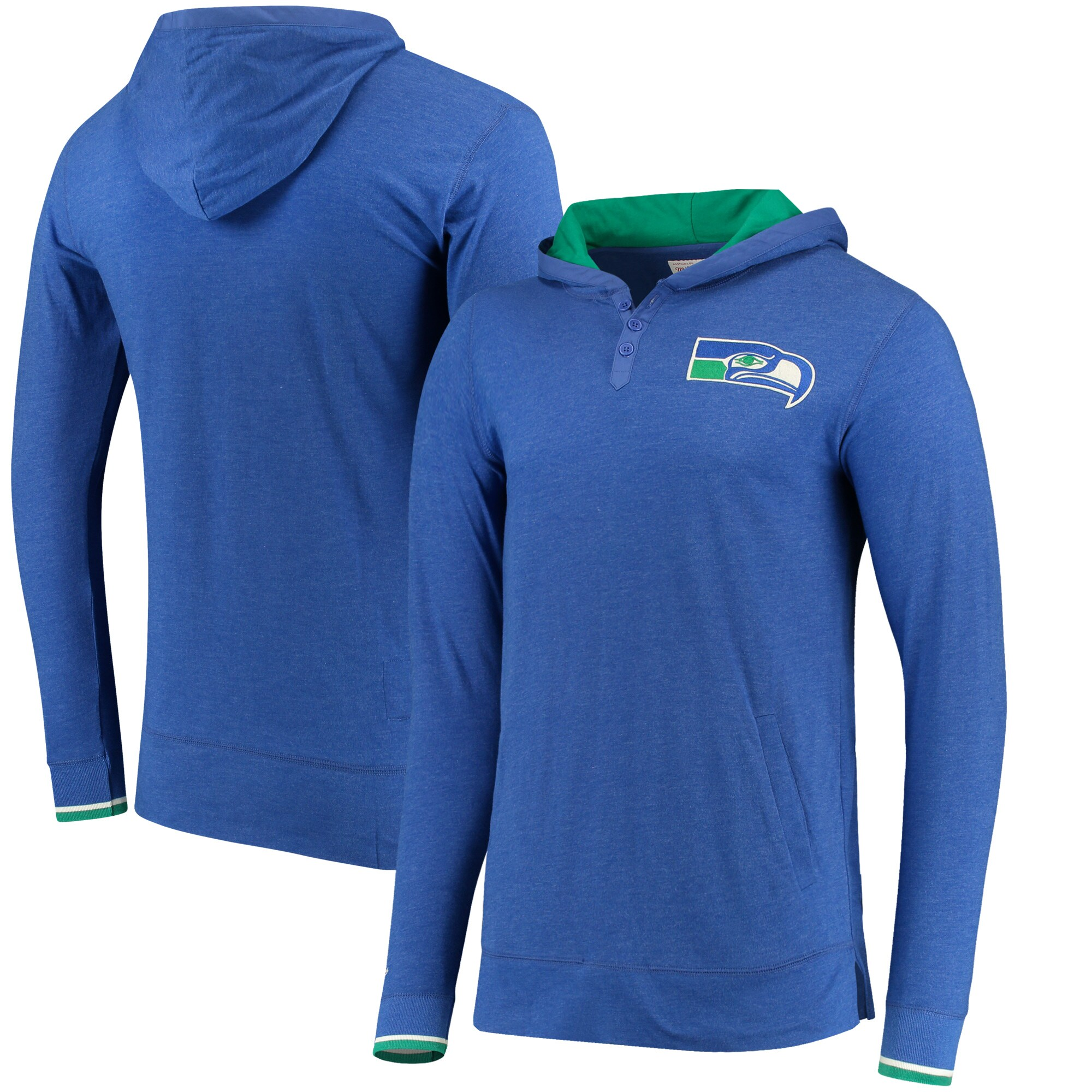 Seattle Seahawks Mitchell & Ness Seal the Win Hoodie Long Sleeve T-Shirt - Heathered College Navy