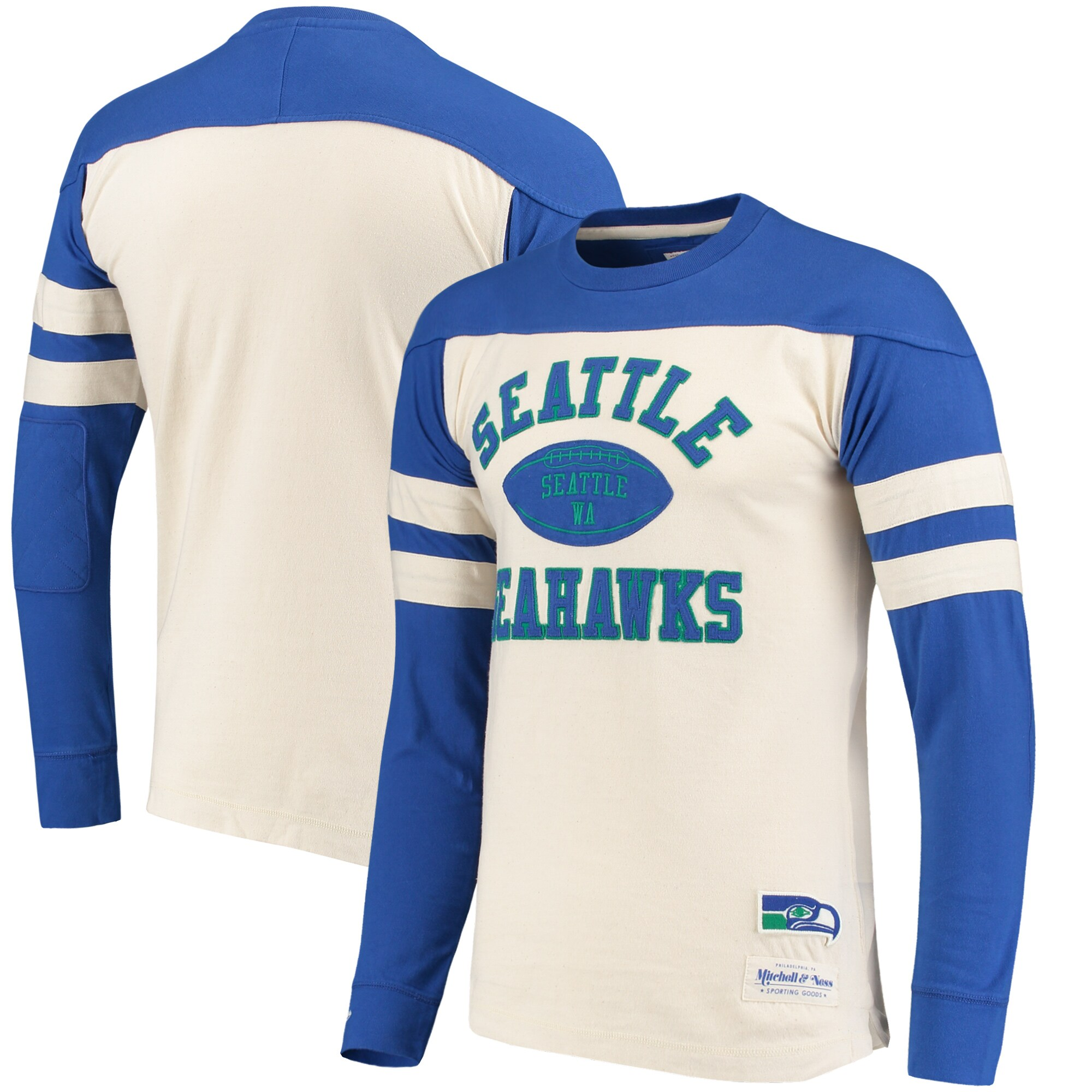 Seattle Seahawks Mitchell & Ness Swing Pass Long Sleeve T-Shirt - Cream/Royal