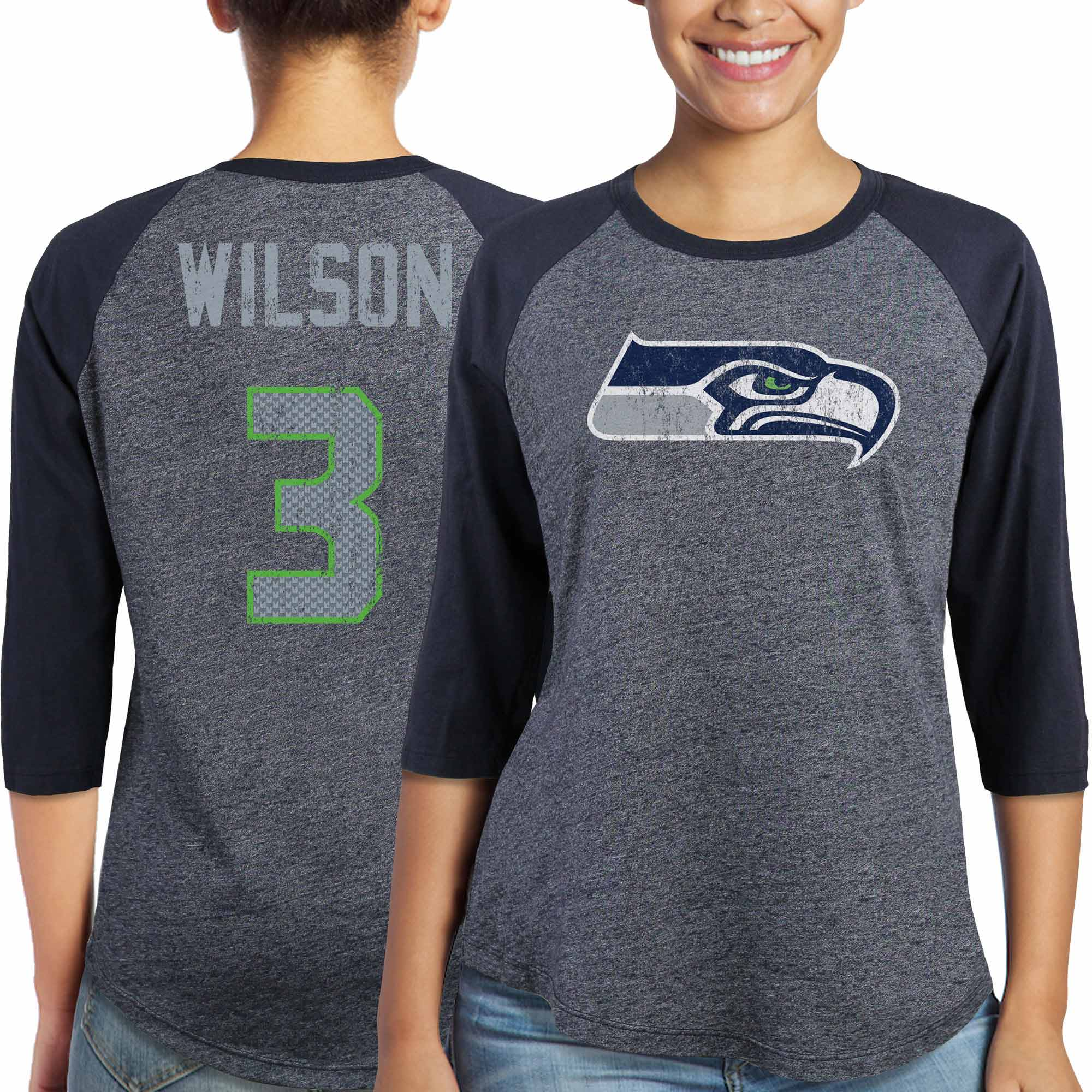 Russell Wilson Seattle Seahawks Majestic Women's Player Name & Number Tri-Blend Three-Quarter Sleeve T-Shirt - College Navy