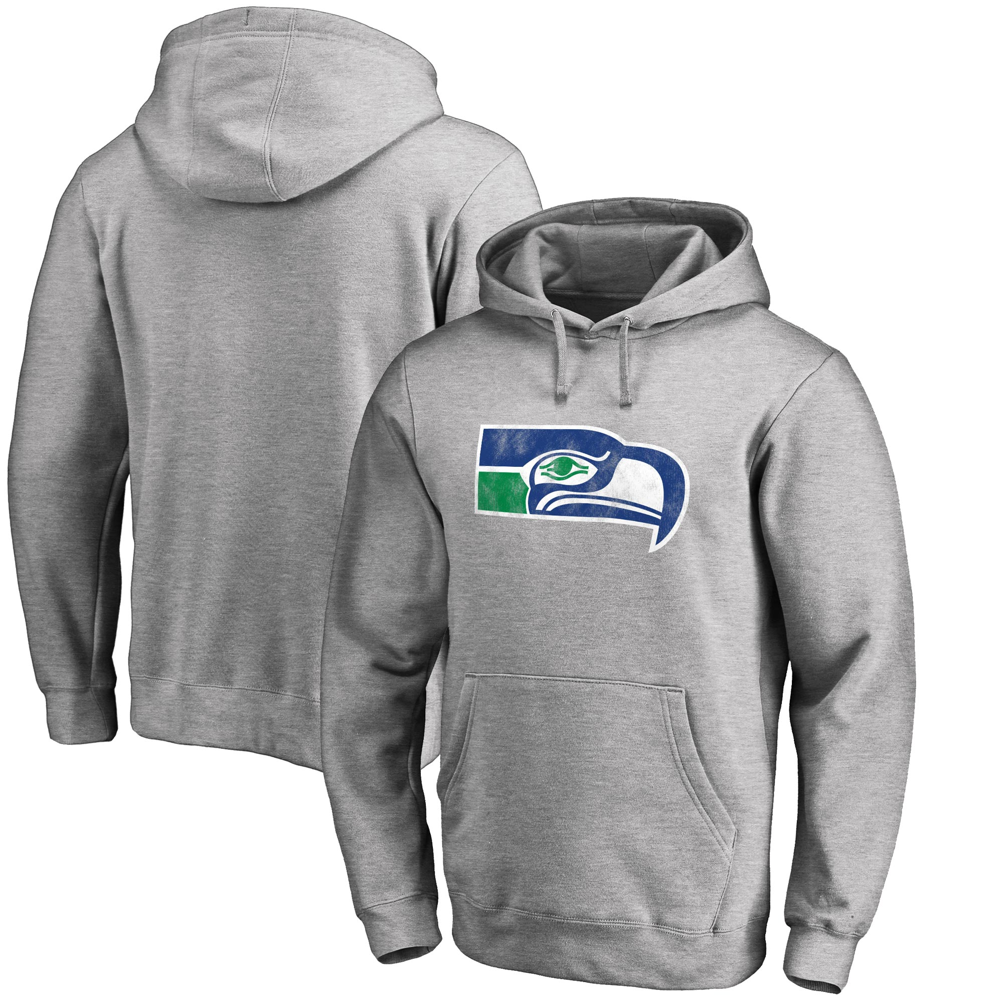 Seattle Seahawks NFL Pro Line Throwback Logo Pullover Hoodie - Gray