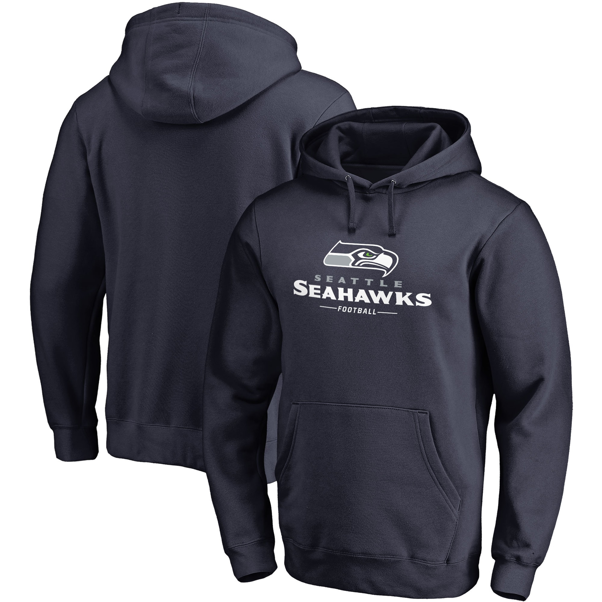 Seattle Seahawks NFL Pro Line Big & Tall Team Lockup Pullover Hoodie - College Navy