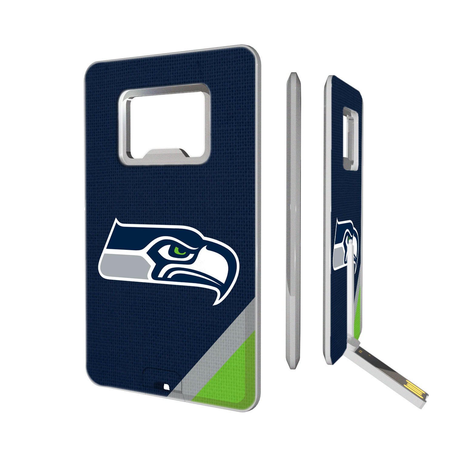 Seattle Seahawks Diagonal Stripe Credit Card USB Drive & Bottle Opener