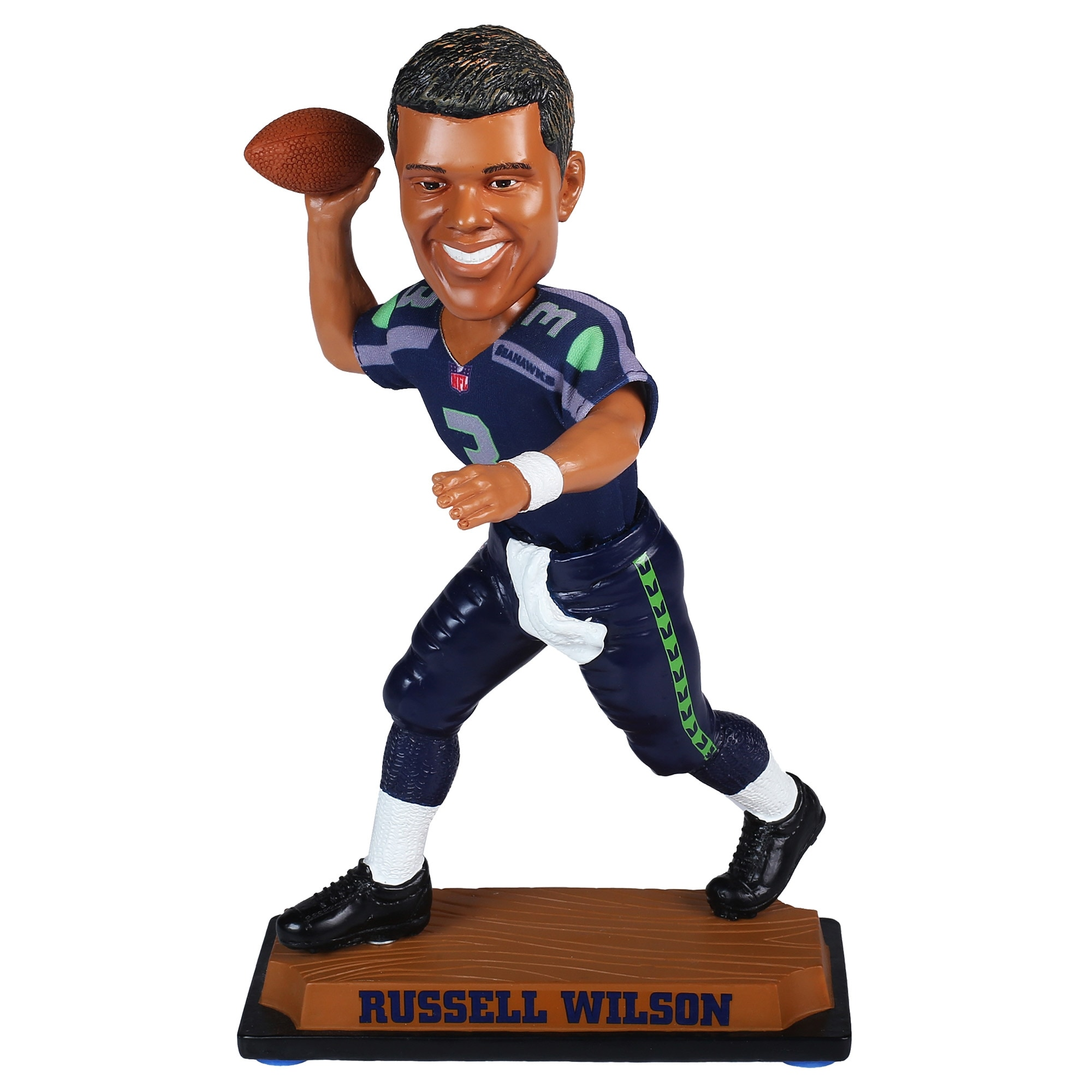 Russell Wilson Seattle Seahawks Real Clothes Bobblehead