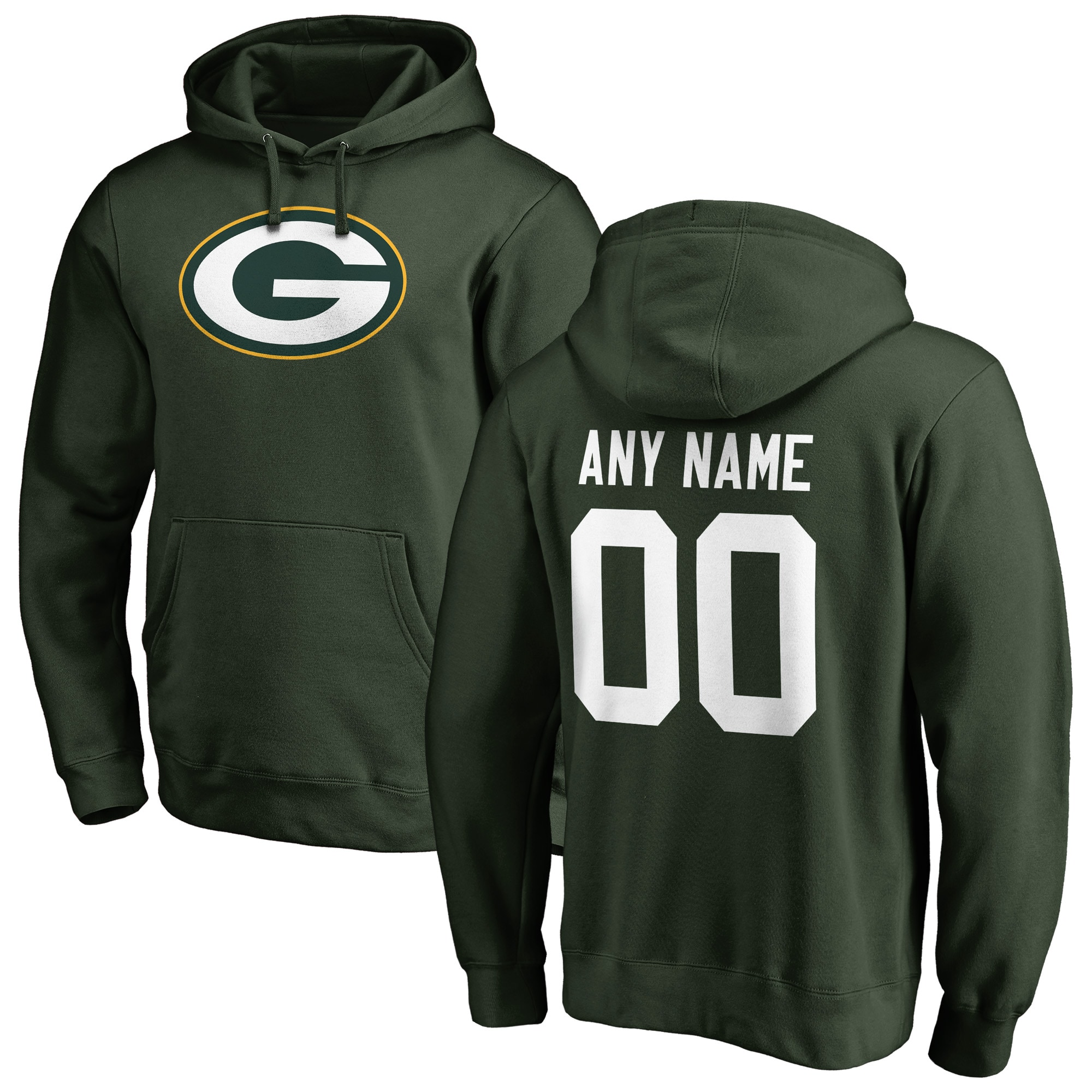 Green Bay Packers NFL Pro Line Any Name & Number Logo Personalized Pullover Hoodie - Green