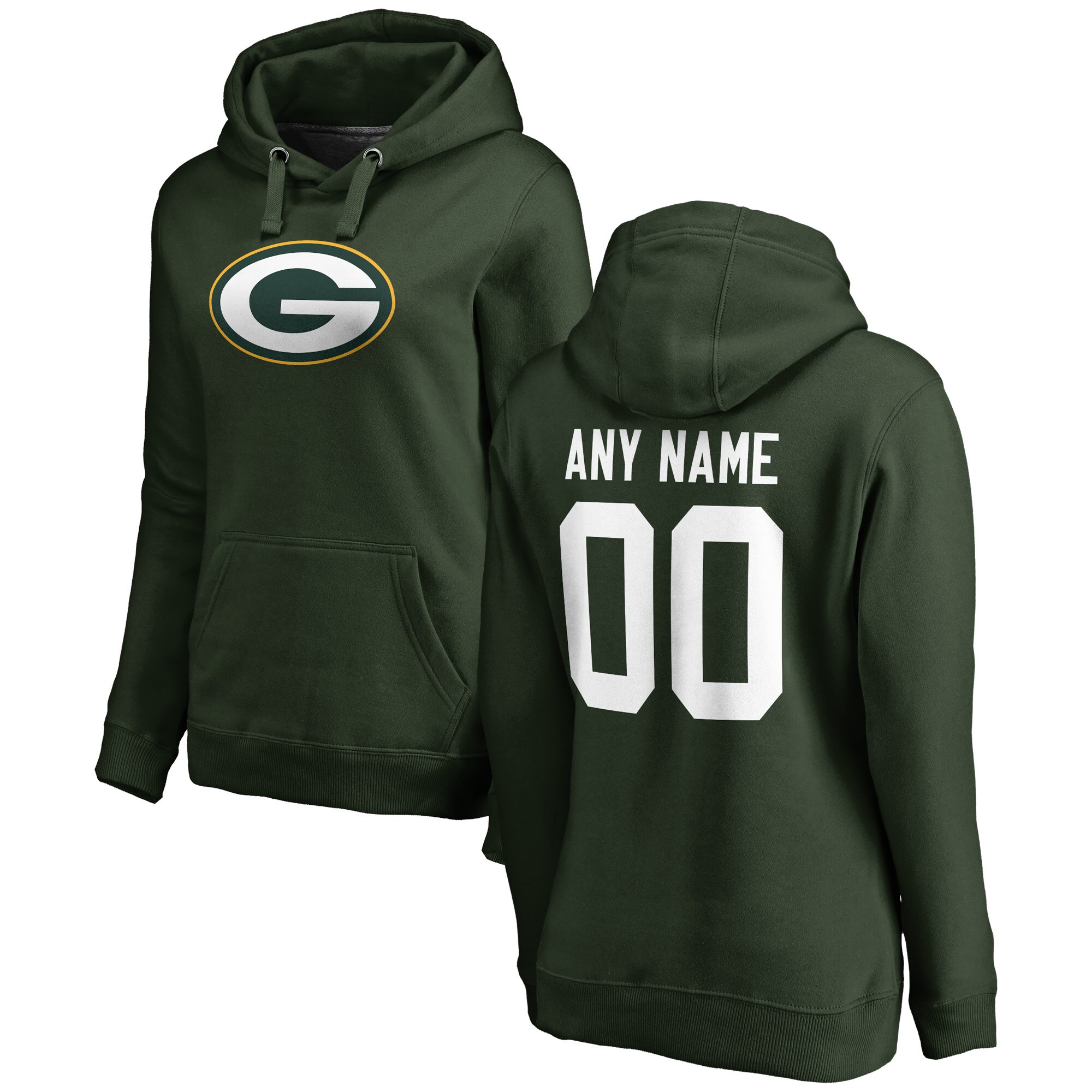Green Bay Packers NFL Pro Line Women's Any Name & Number Logo Personalized Pullover Hoodie - Green