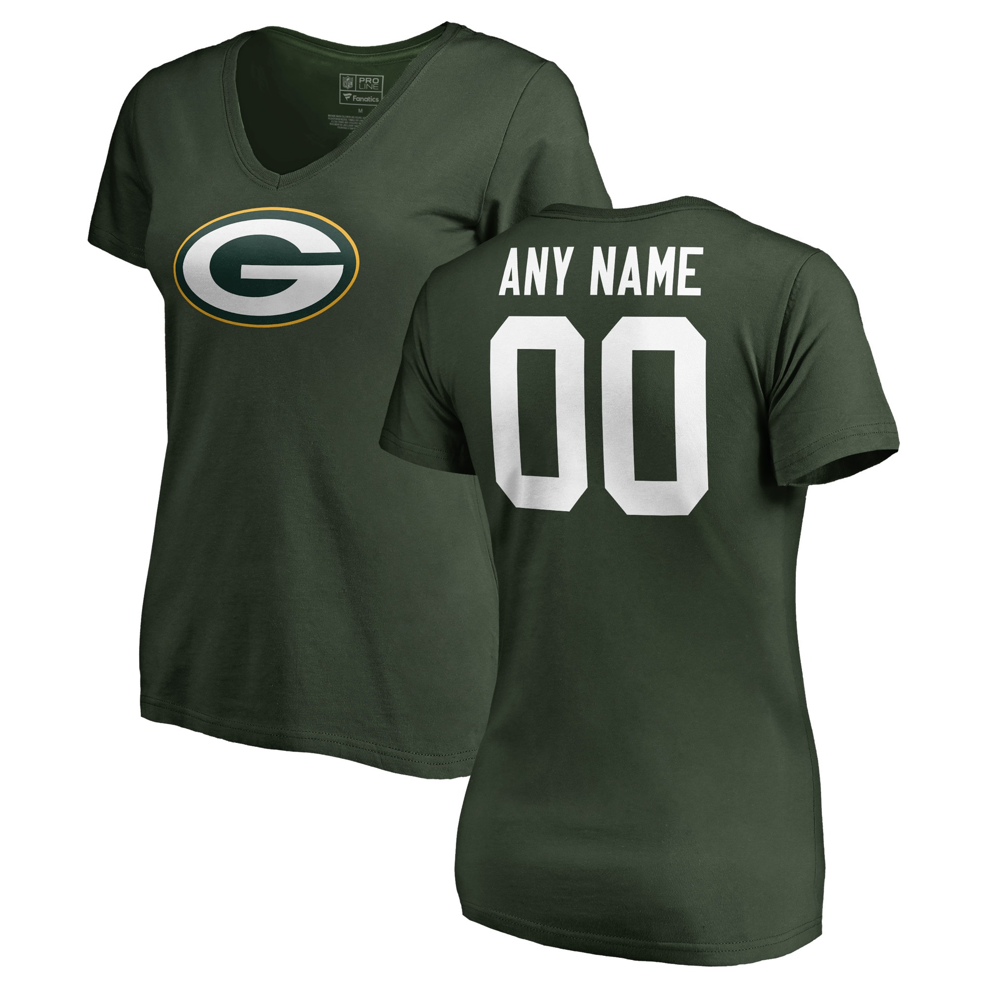 Green Bay Packers NFL Pro Line Women's Any Name & Number Logo Personalized T-Shirt - Green