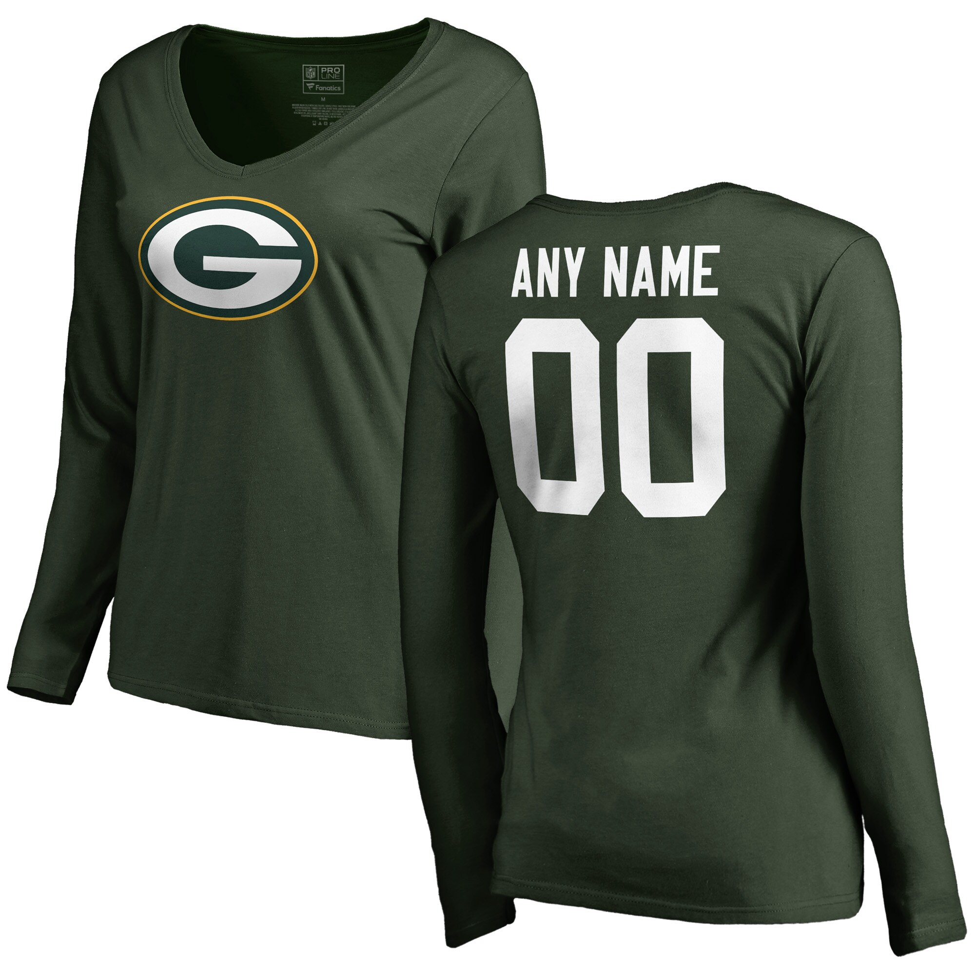 Green Bay Packers Women's Any Name & Number Logo Long Sleeve Personalized T-Shirt - Green