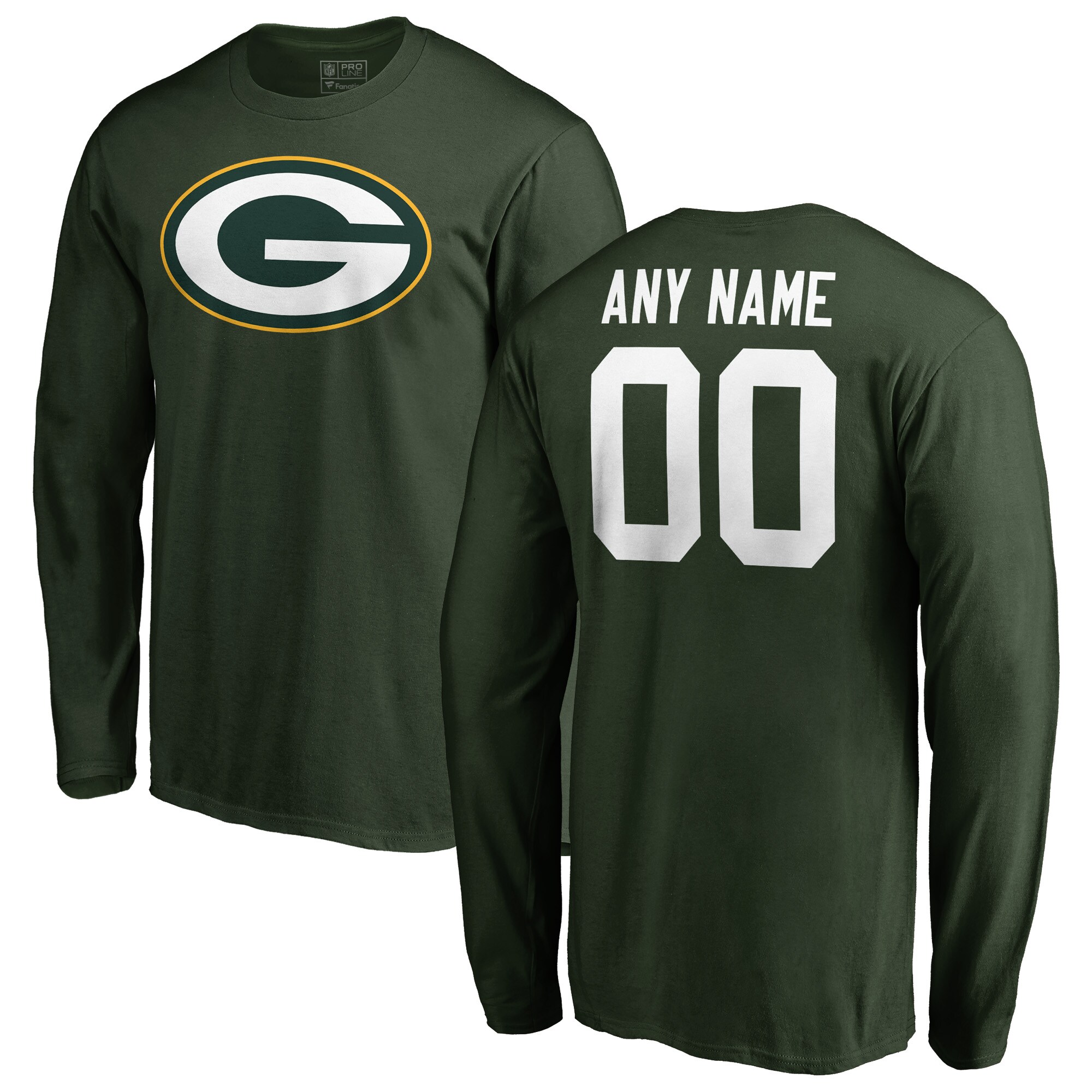 Green Bay Packers NFL Pro Line Any Name & Number Logo Personalized Long Sleeve T-Shirt - Green