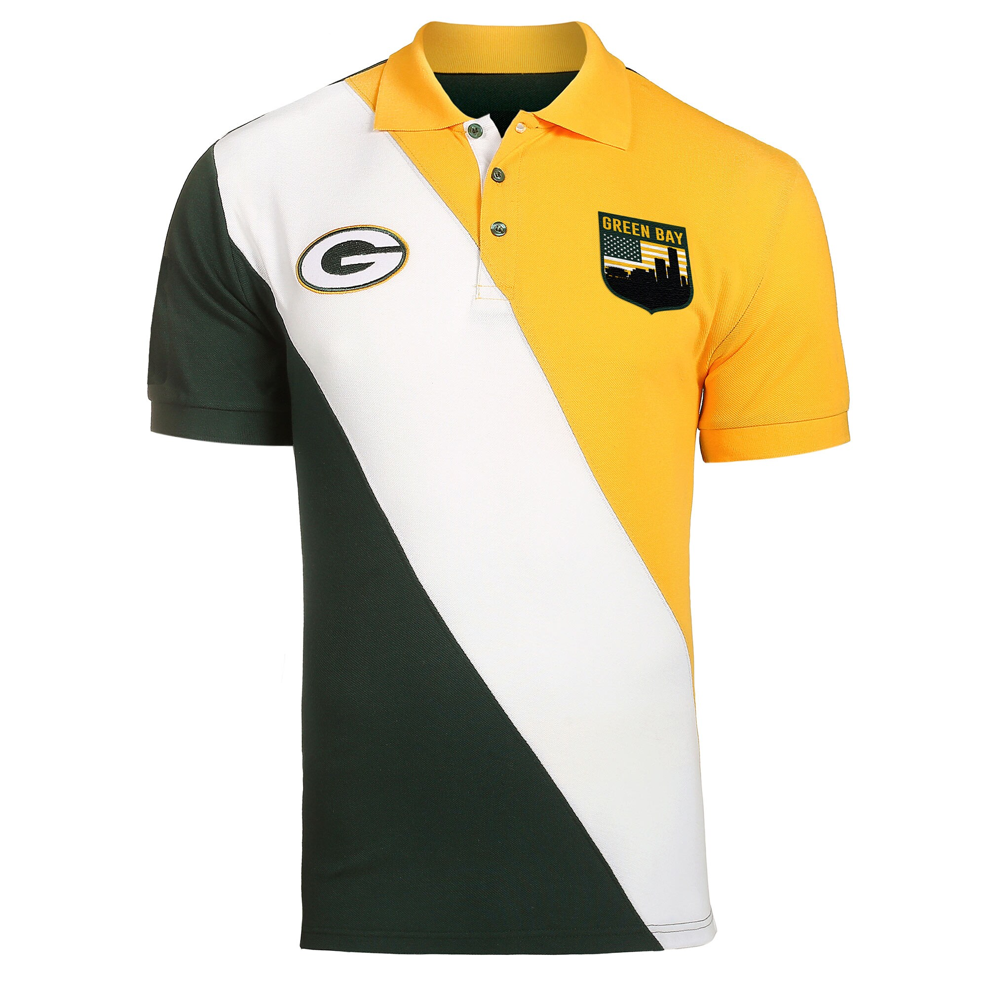 Green Bay Packers Diagonal Stripe Rugby Polo - Green/Gold