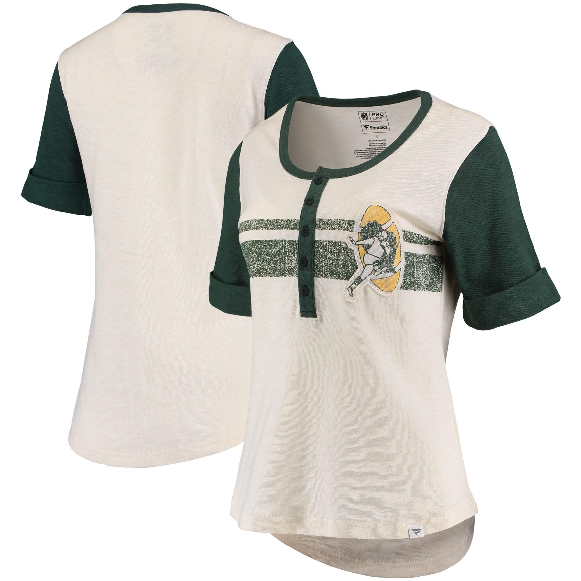 Green Bay Packers Fanatics Branded Women's True Classics Drop Tail Henley T-Shirt - White/Green