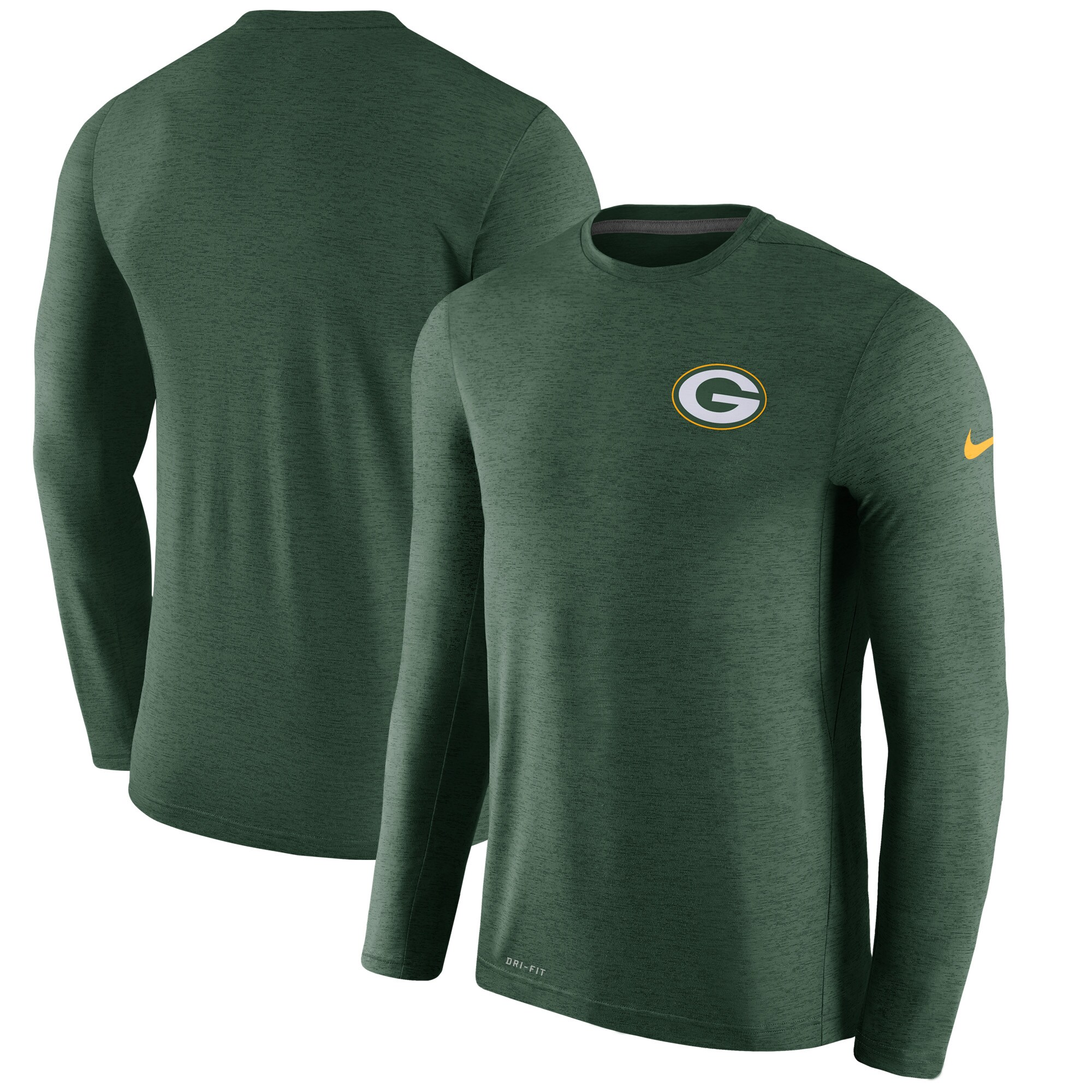 Green Bay Packers Nike Sideline Coaches Long Sleeve Performance T-Shirt - Green