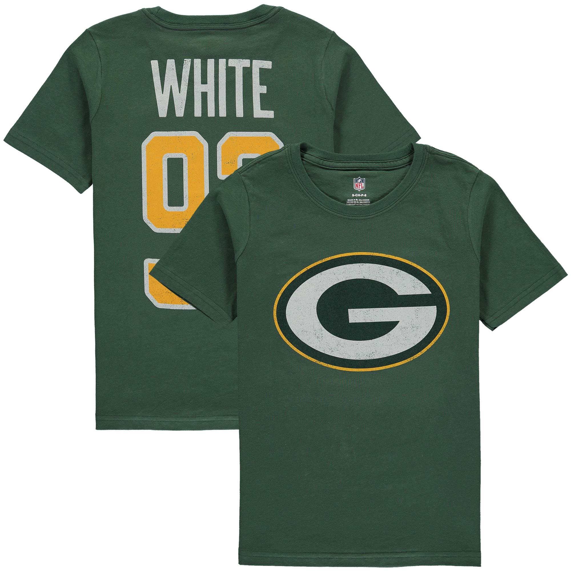 Reggie White Green Bay Packers Youth Retired Player Distressed Current Logo Name & Number T-Shirt - Green