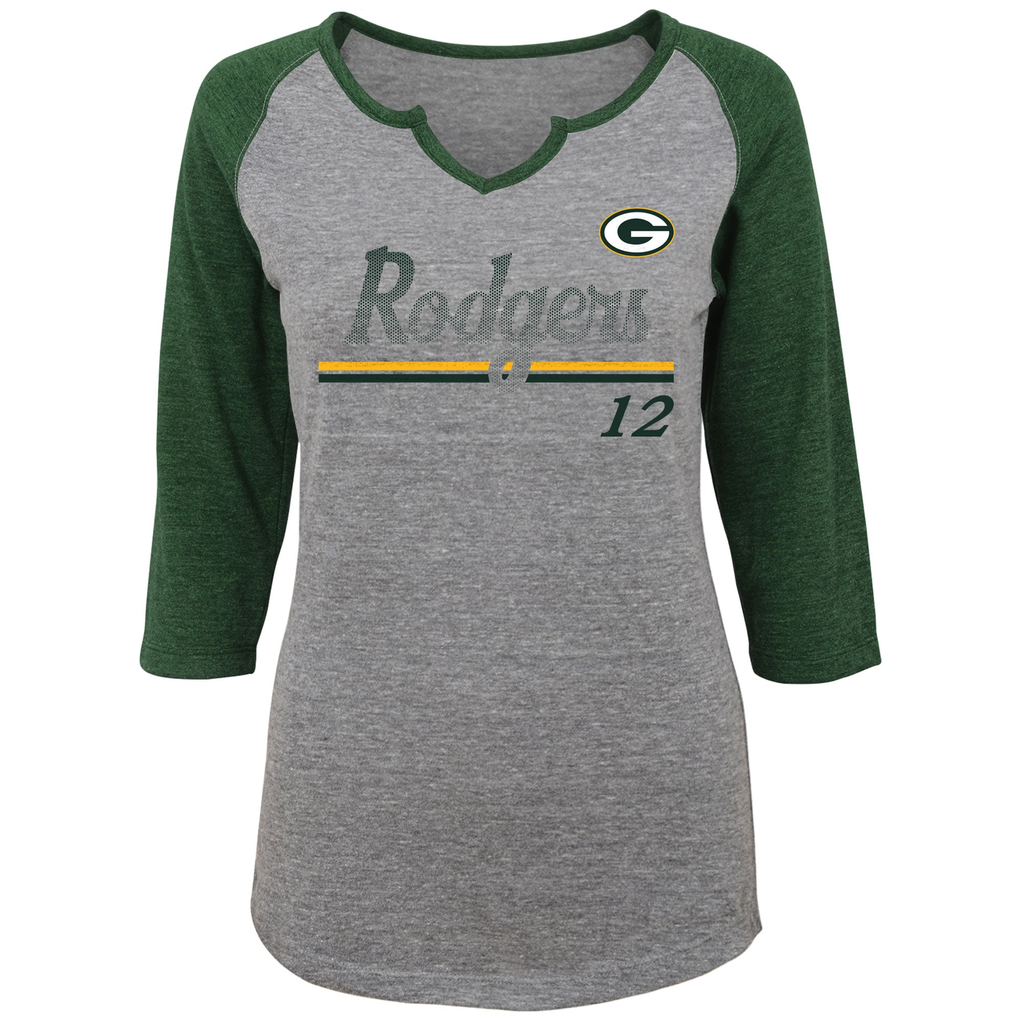 Aaron Rodgers Green Bay Packers Women's Juniors Over the Line Player Name & Number Tri-Blend 3/4-Sleeve V-Notch T-Shirt - Heathered Gray/Green