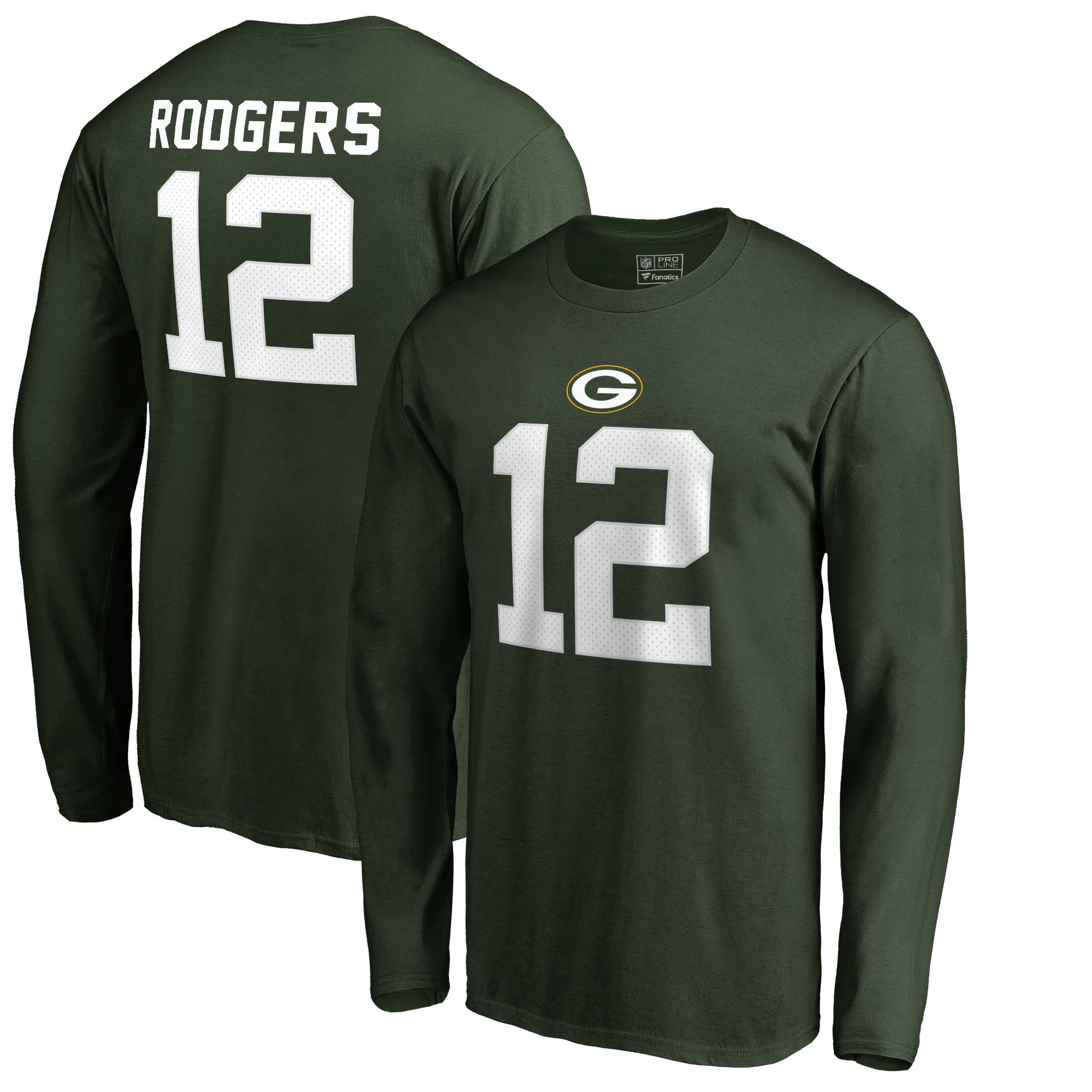 Aaron Rodgers Green Bay Packers NFL Pro Line by Fanatics Branded Authentic Stack Name & Number Long Sleeve T-Shirt - Green