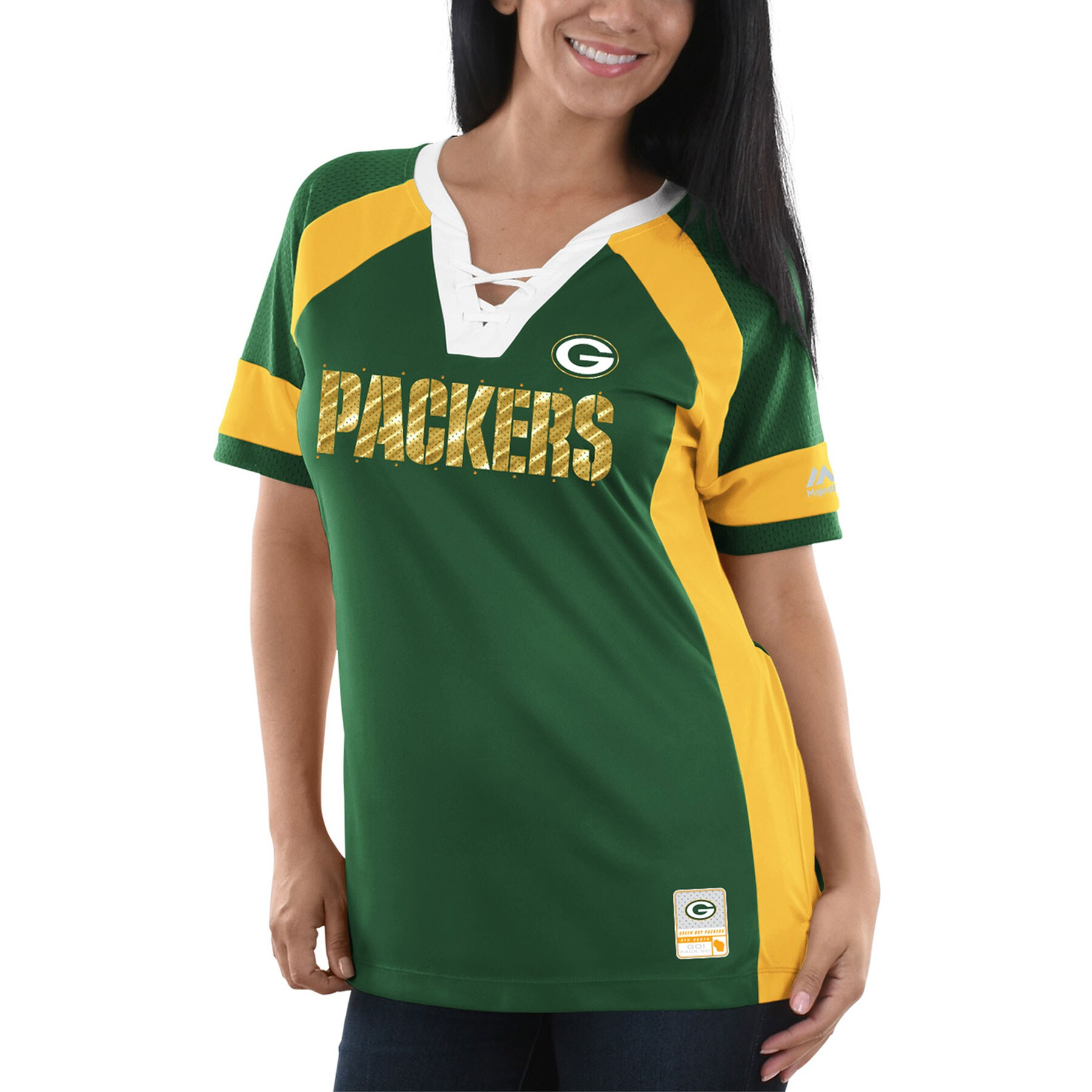 Green Bay Packers Majestic Women's Draft Me V-Neck T-Shirt - Green/Gold