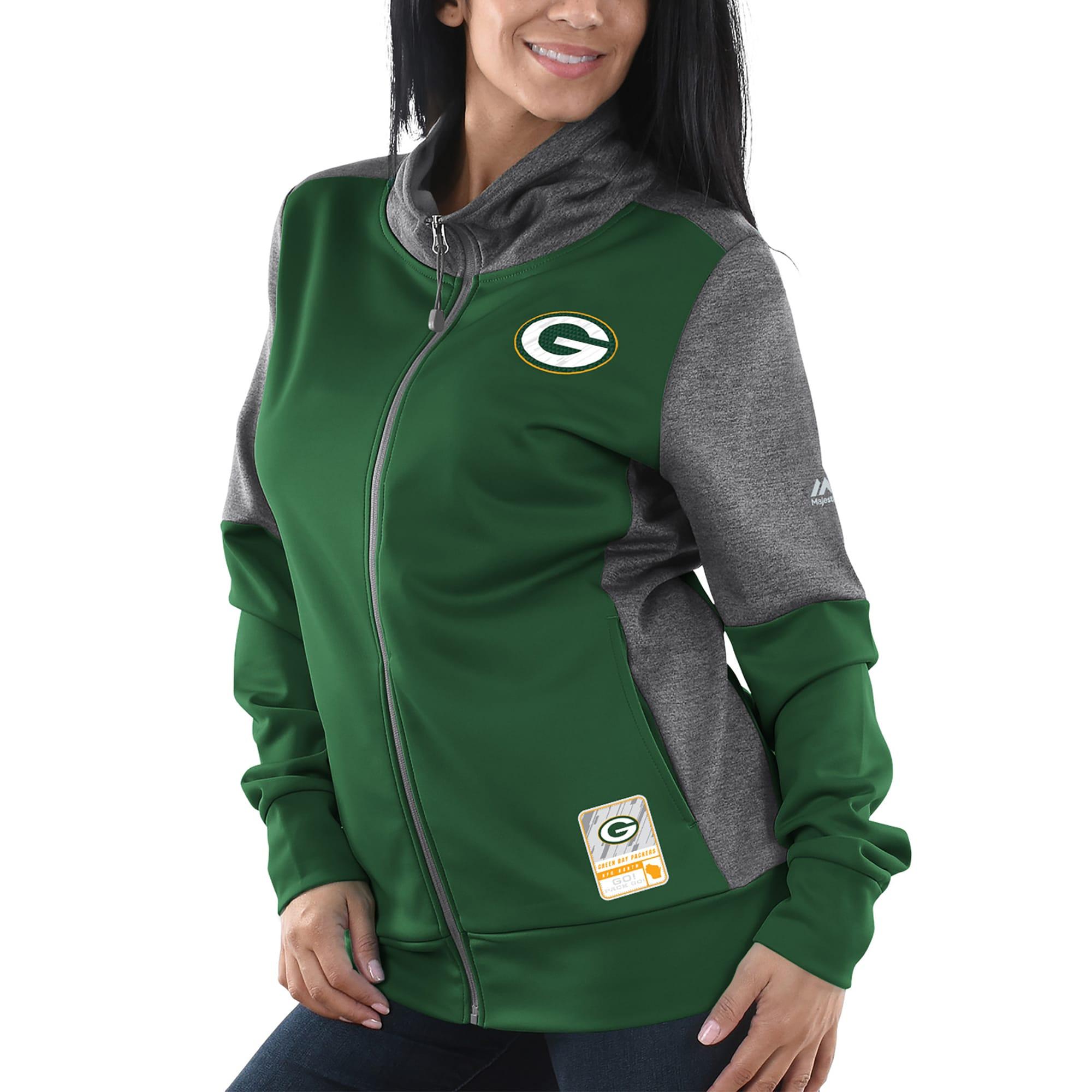 Green Bay Packers Majestic Women's Speed Fly Lightweight Full-Zip Fleece Jacket - Green