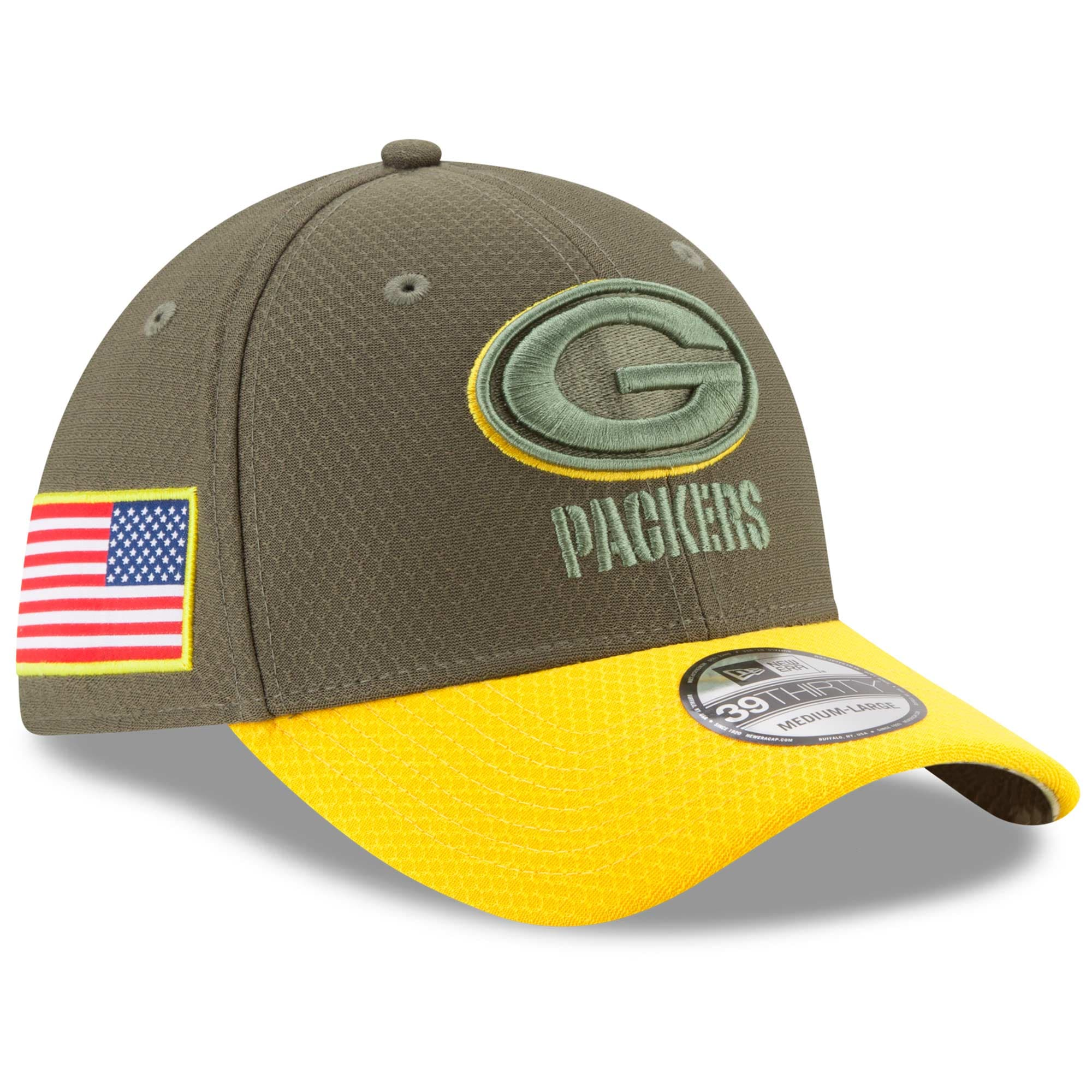 Green Bay Packers New Era Youth 2017 Salute To Service 39THIRTY Flex Hat - Olive