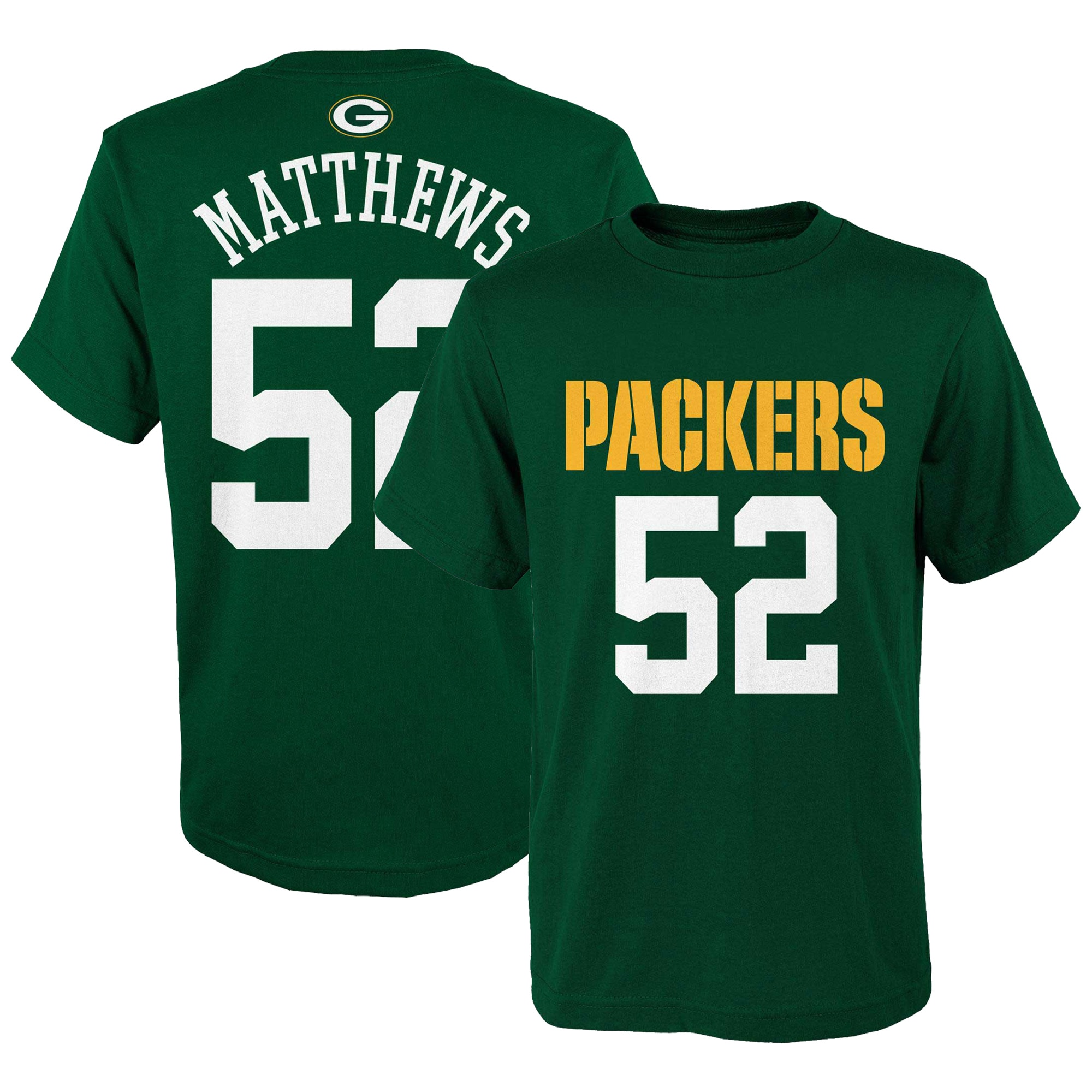 Clay Matthews Green Bay Packers Youth Mainliner Name & Number T-Shirt - Green