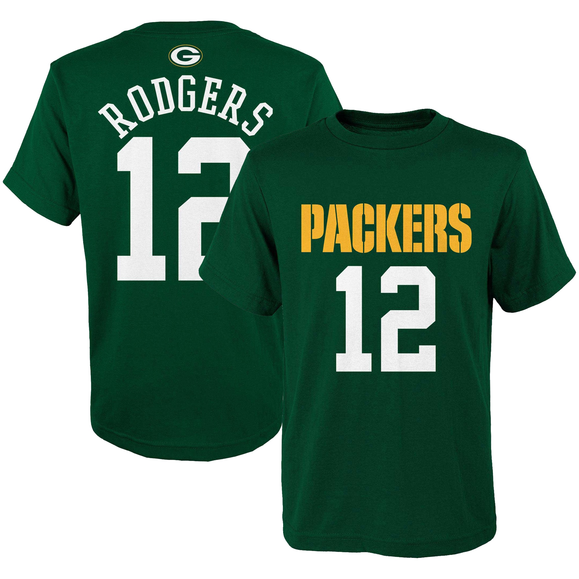 Aaron Rodgers Green Bay Packers Youth Mainliner Player Name & Number T-Shirt - Green