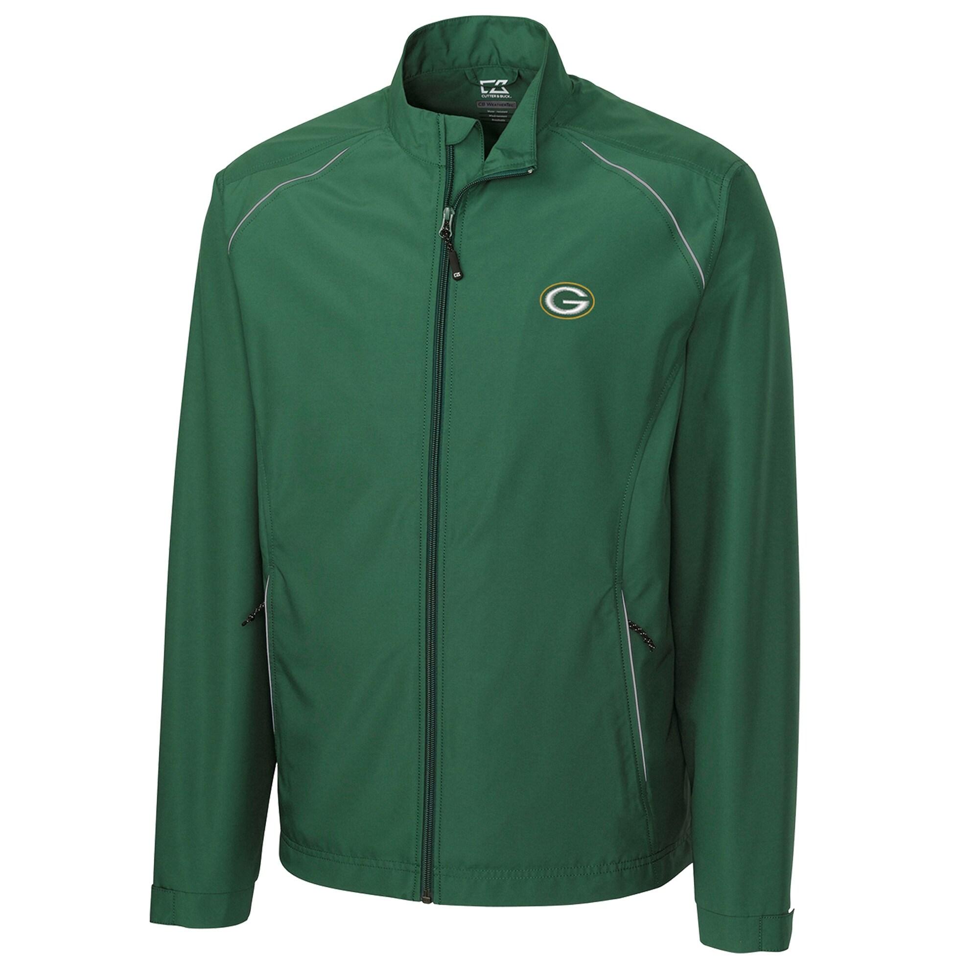 Green Bay Packers Cutter & Buck WeatherTec Beacon Full Zip Jacket - Green