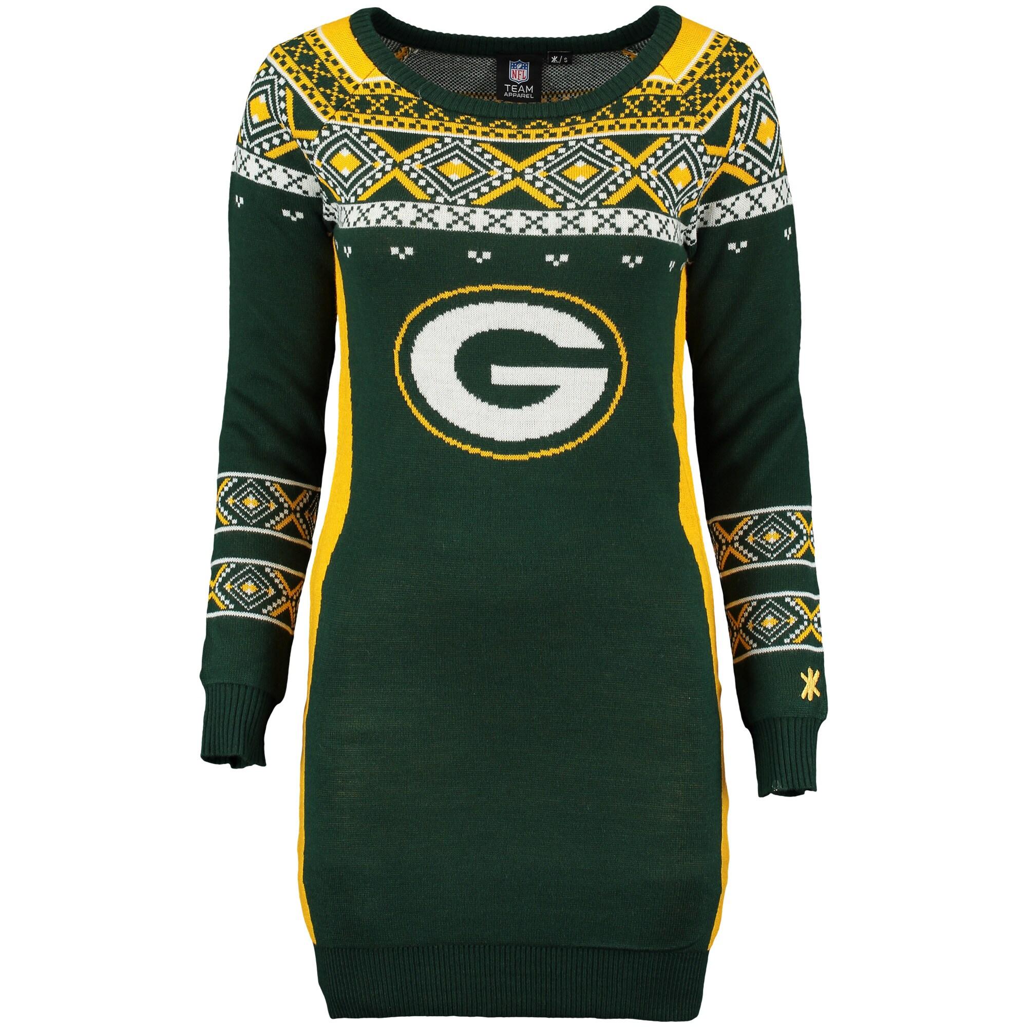 Green Bay Packers Klew Women's Big Logo Ugly Sweater Dress - Green