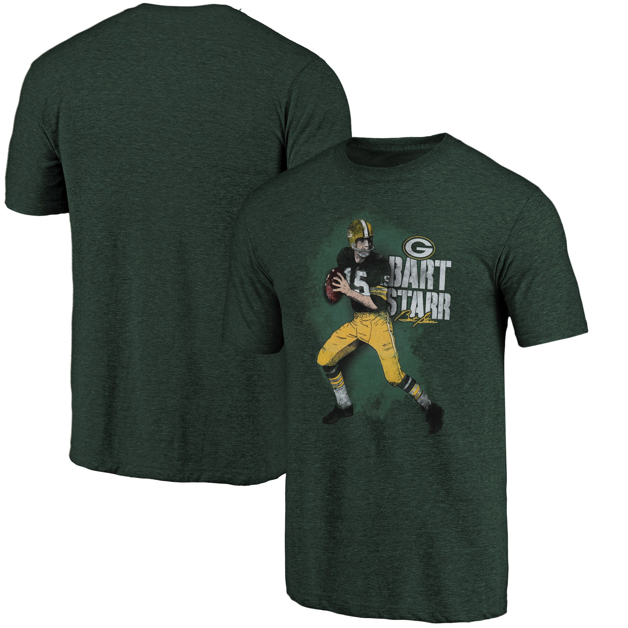Bart Starr Green Bay Packers NFL Pro Line Retired Player Tri-Blend T-Shirt - Green