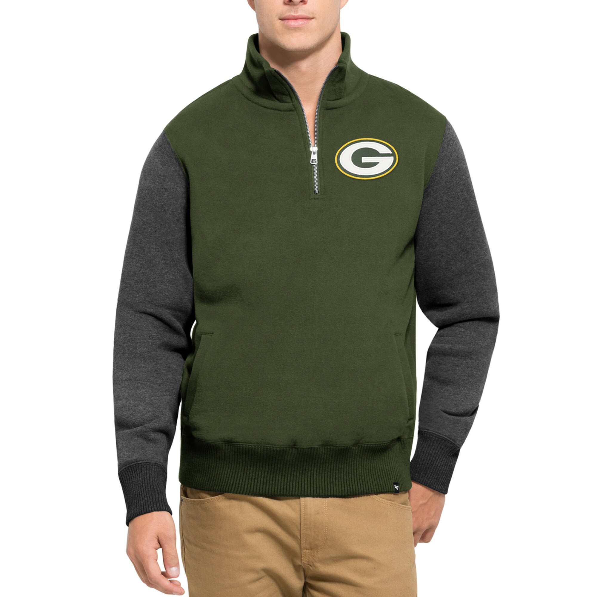 Green Bay Packers '47 Triple Coverage Quarter-Zip Sweatshirt - Green