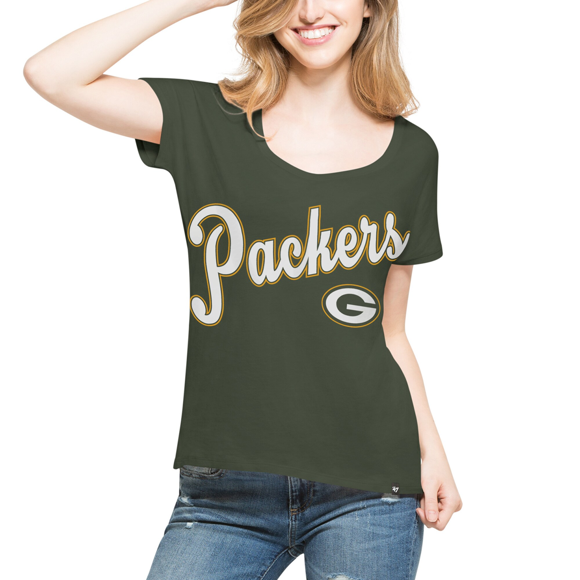Green Bay Packers '47 Women's Flair Roundoff T-Shirt - Green
