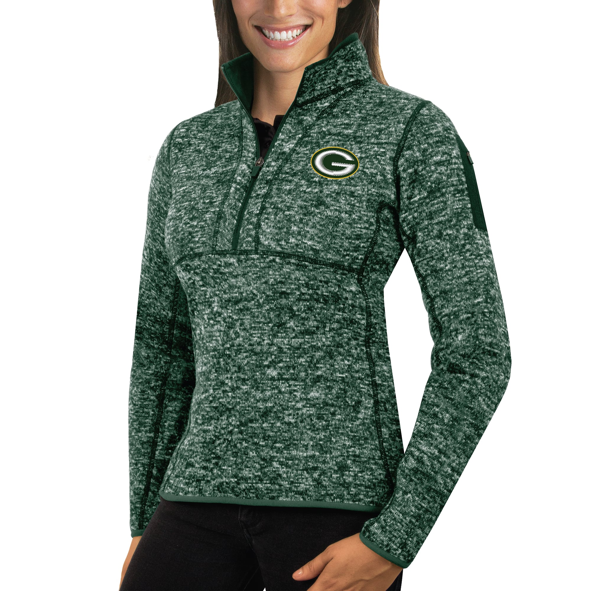 Green Bay Packers Antigua Women's Fortune Half-Zip Sweater - Heather Green