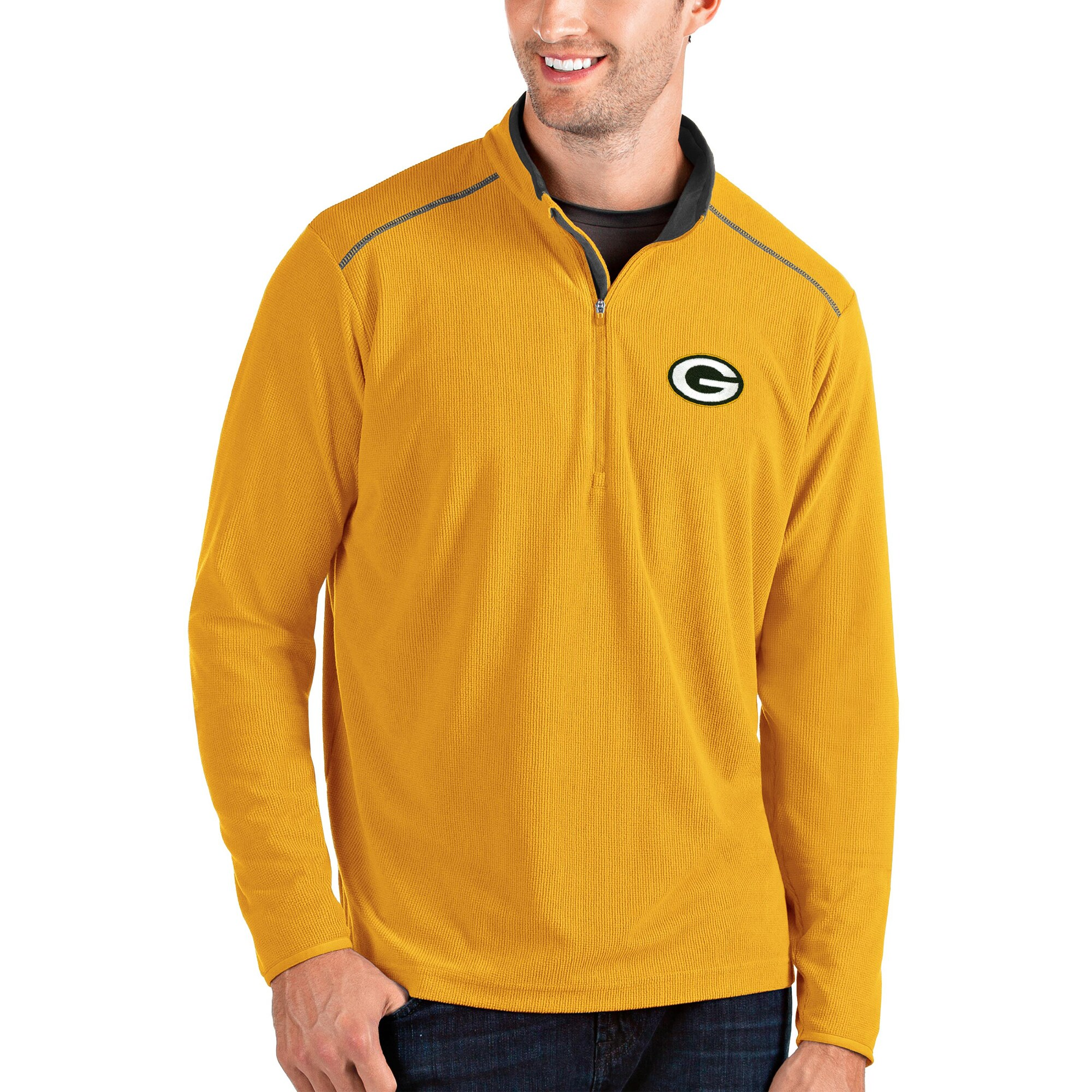 Green Bay Packers Antigua Glacier Quarter-Zip Pullover Jacket - Gold/Gray