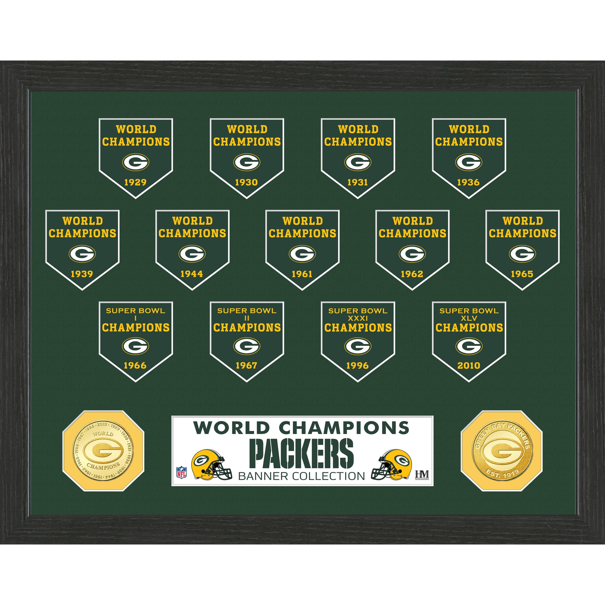Green Bay Packers Highland Mint 13-Time World Champions 12'' x 15'' Banner Bronze Coin Photo Mint