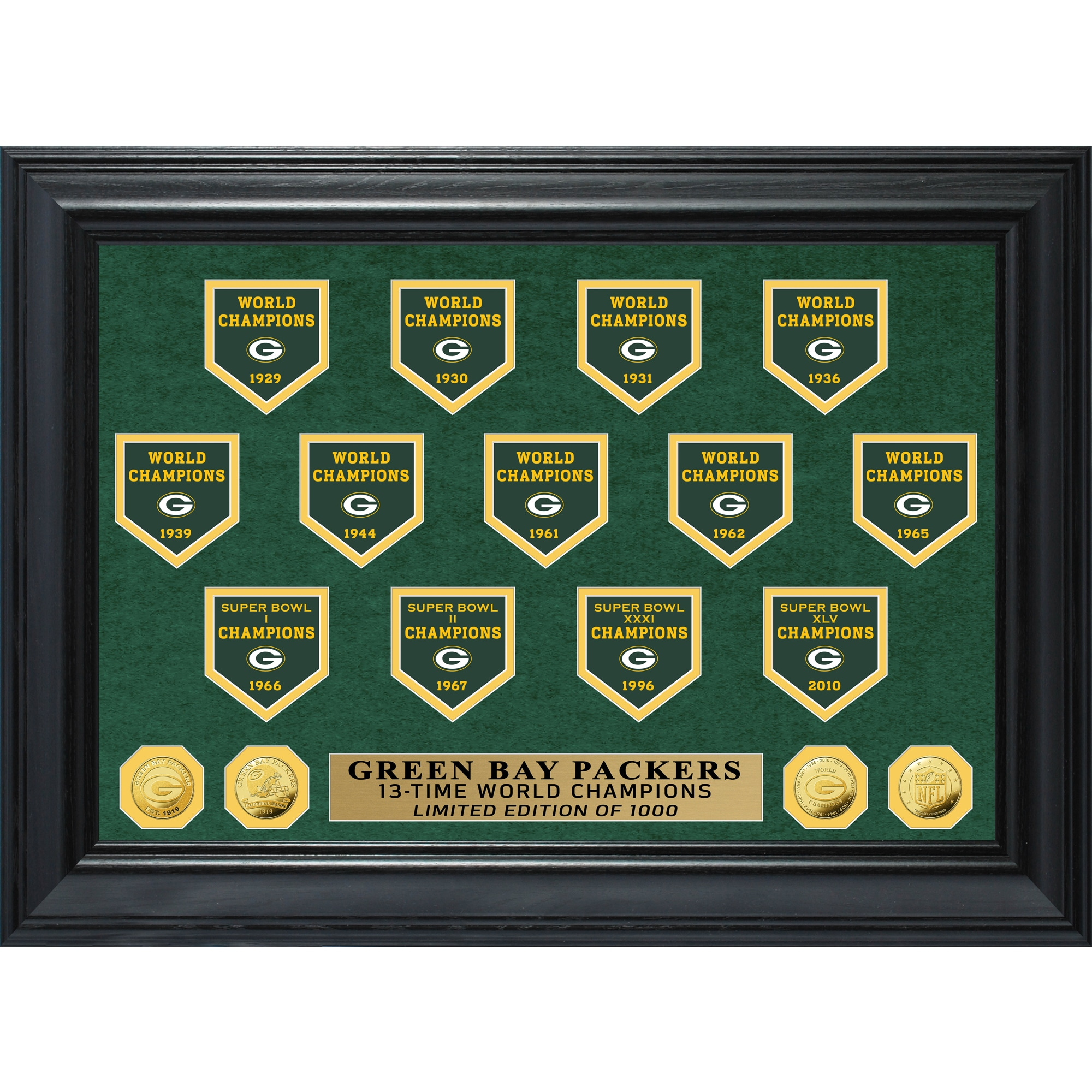 Green Bay Packers Highland Mint 13-Time World Champions 19'' x 26'' Deluxe Banner Gold Coin Photo Mint