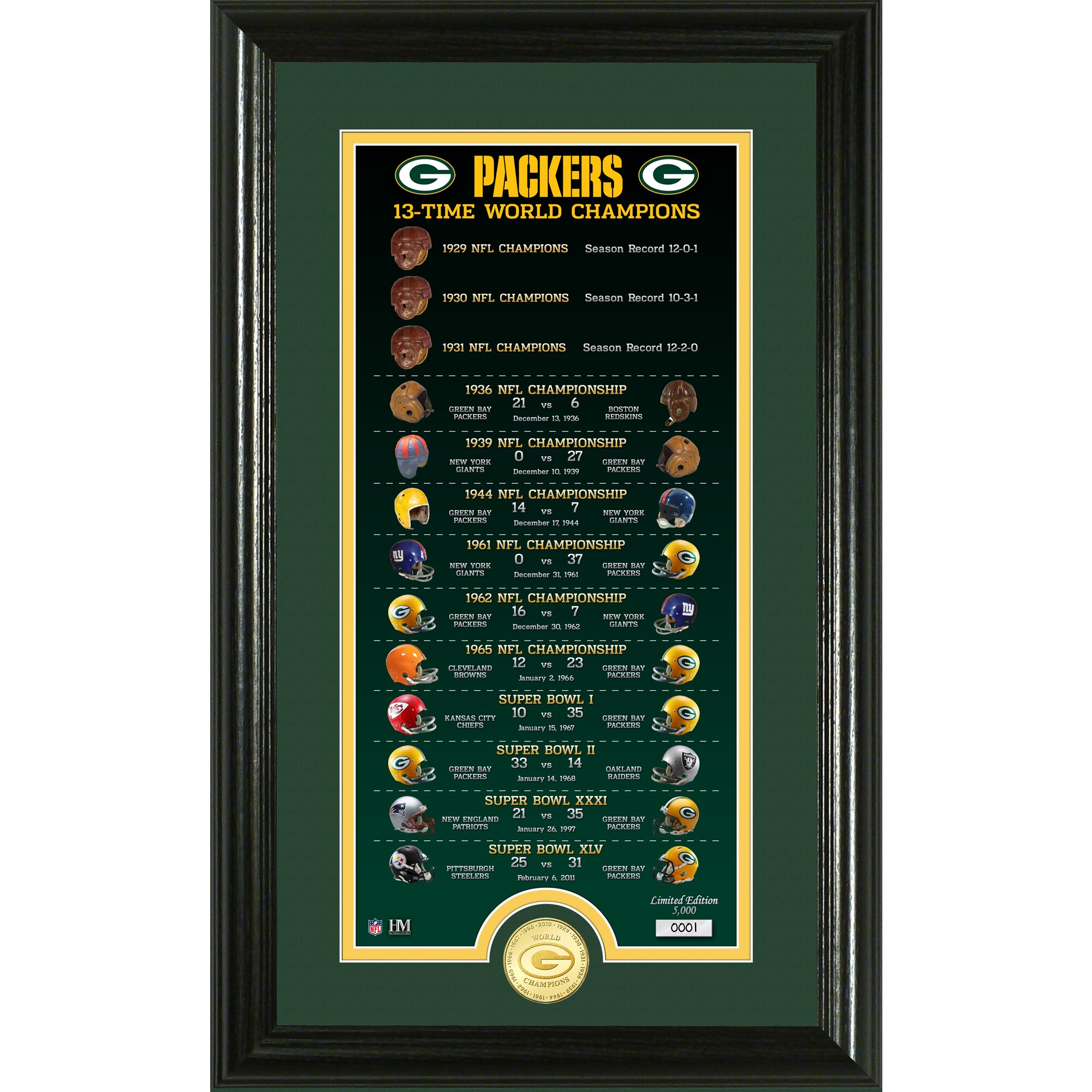 Green Bay Packers Highland Mint 13-Time World Champions 12'' x 20'' Legacy Bronze Coin Photo Mint