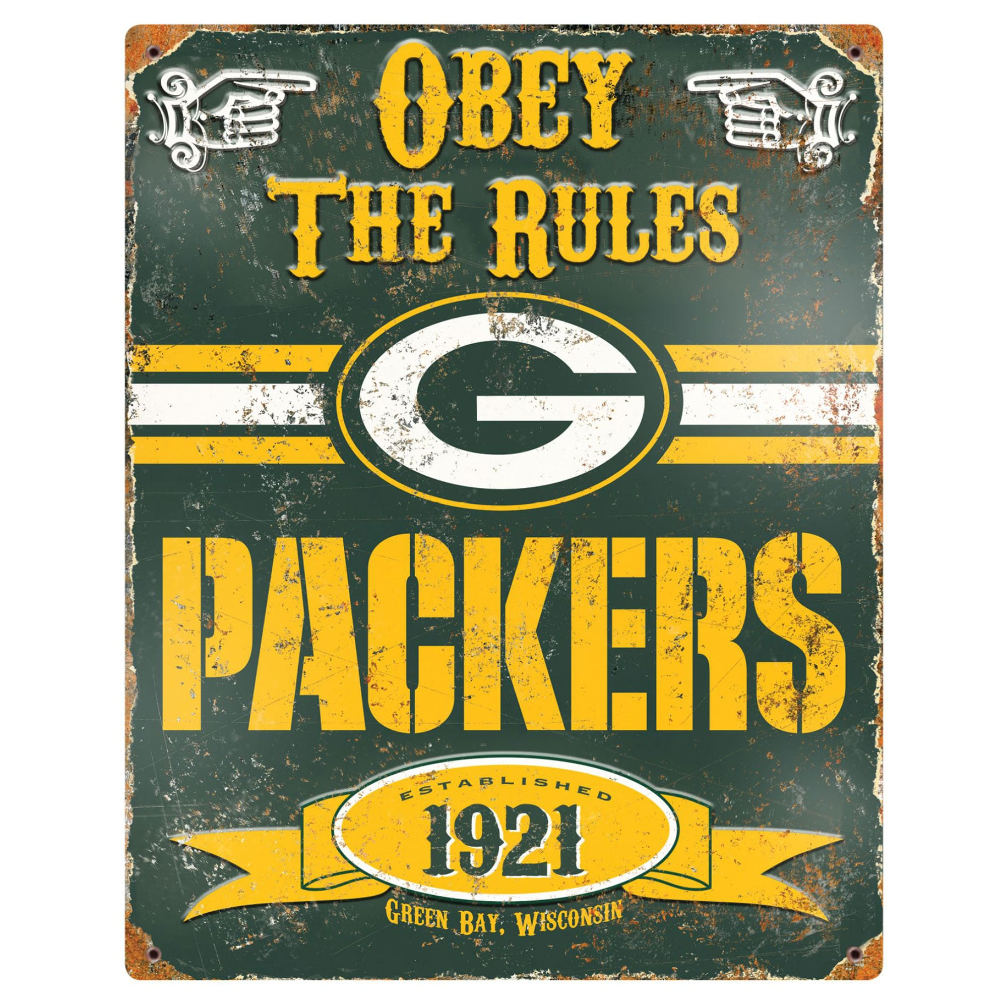 Green Bay Packers 14.5'' x 11.5'' Embossed Metal Sign