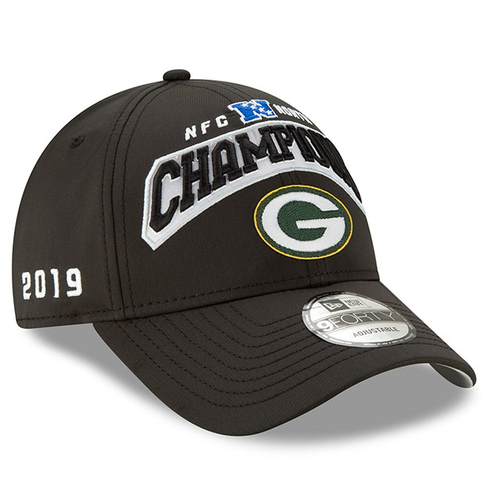 Green Bay Packers New Era 2019 NFC North Division Champions 9FORTY Adjustable Hat - Black