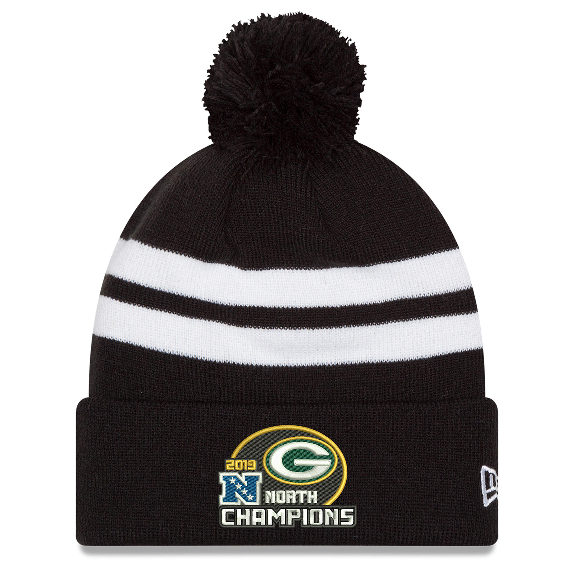 Green Bay Packers New Era 2019 NFC North Division Champions Stripe Cuffed Pom Knit Hat - Black