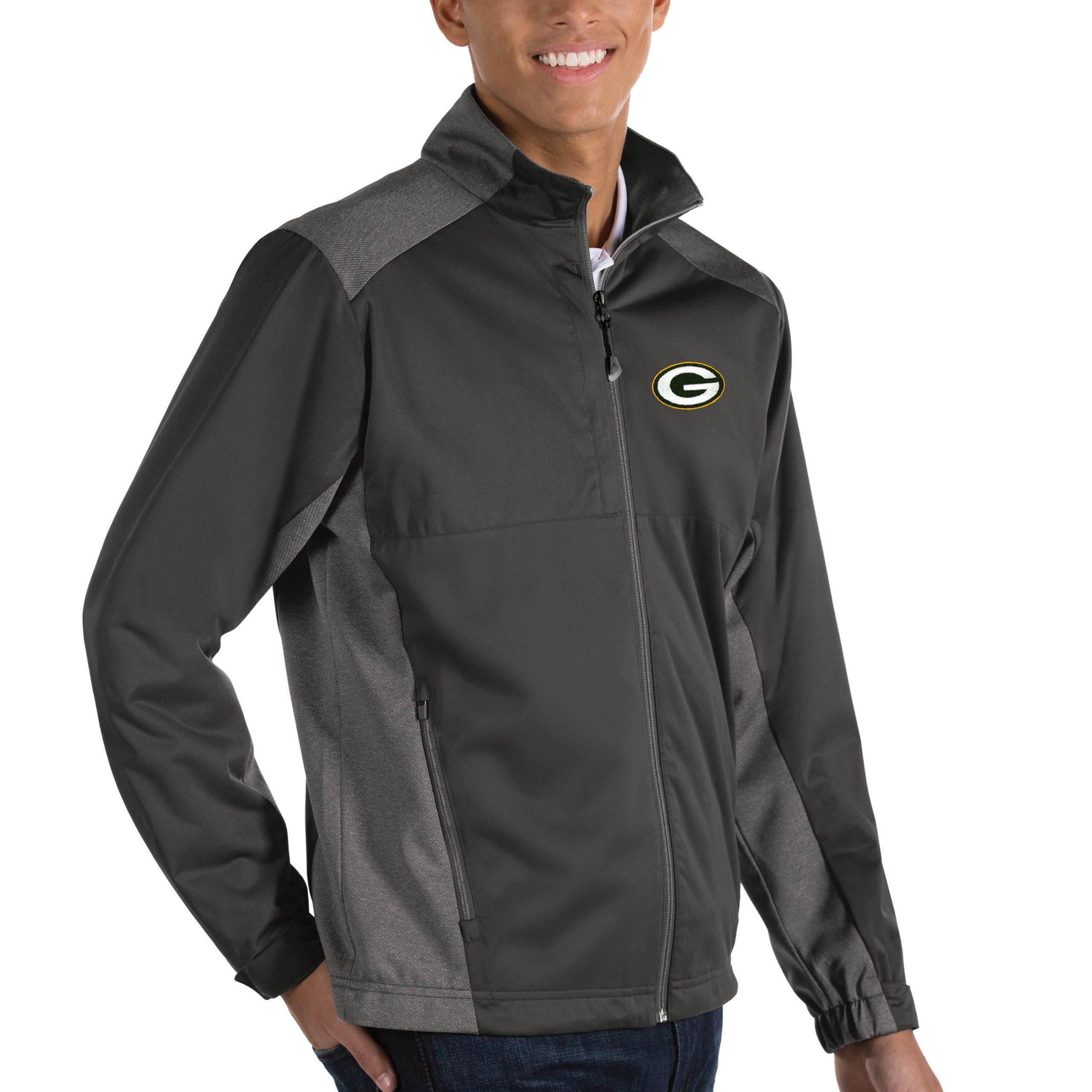 Green Bay Packers Antigua Revolve Big & Tall Full-Zip Jacket - Heather Charcoal