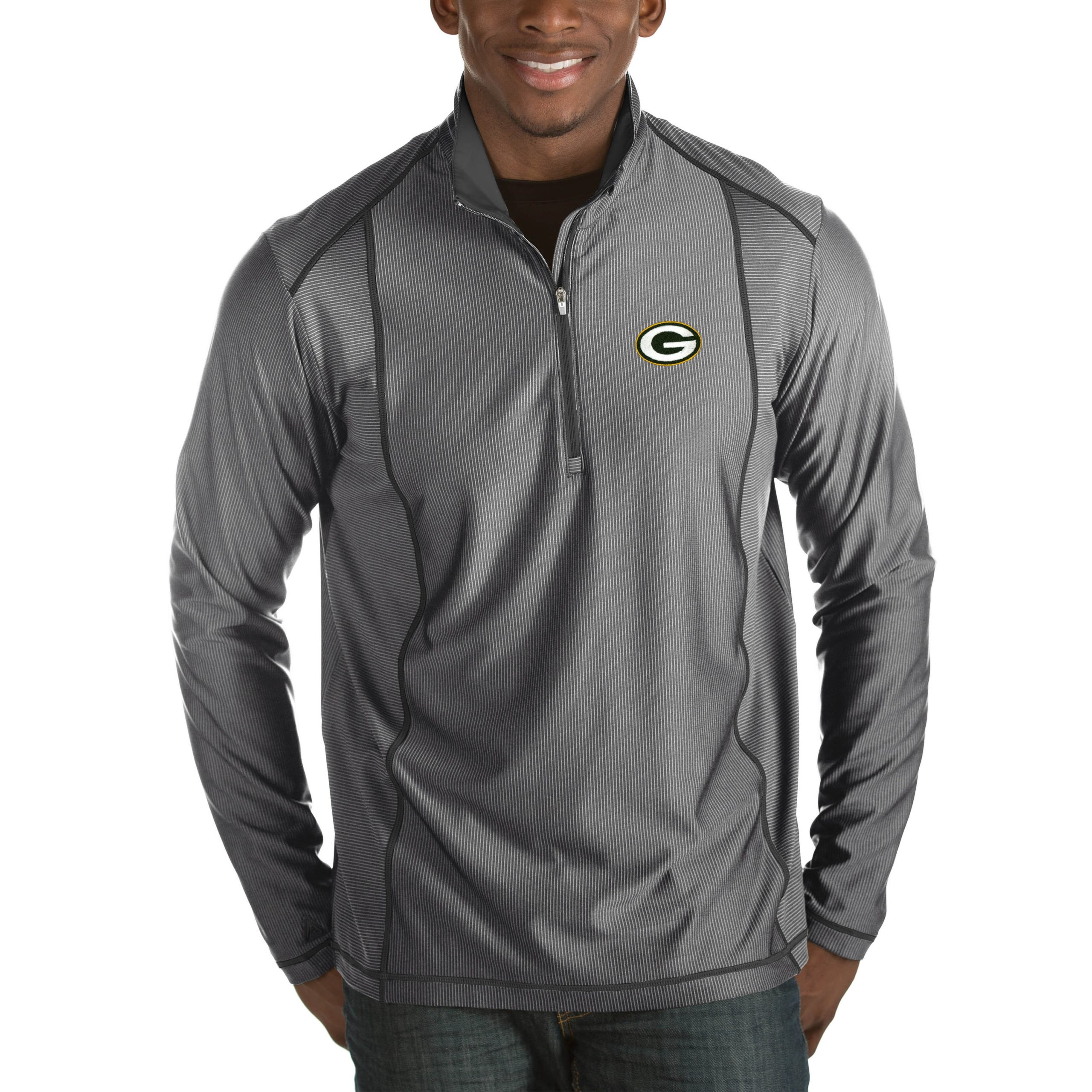 Green Bay Packers Antigua Tempo Big & Tall Half-Zip Pullover Jacket - Heather Charcoal