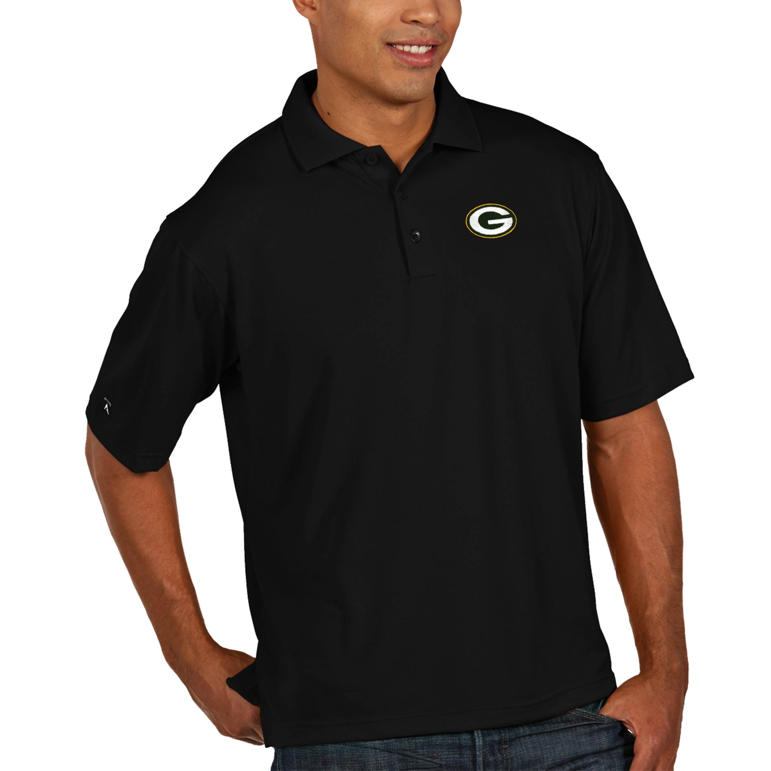 Green Bay Packers Antigua Pique Xtra Lite Big & Tall Polo - Black