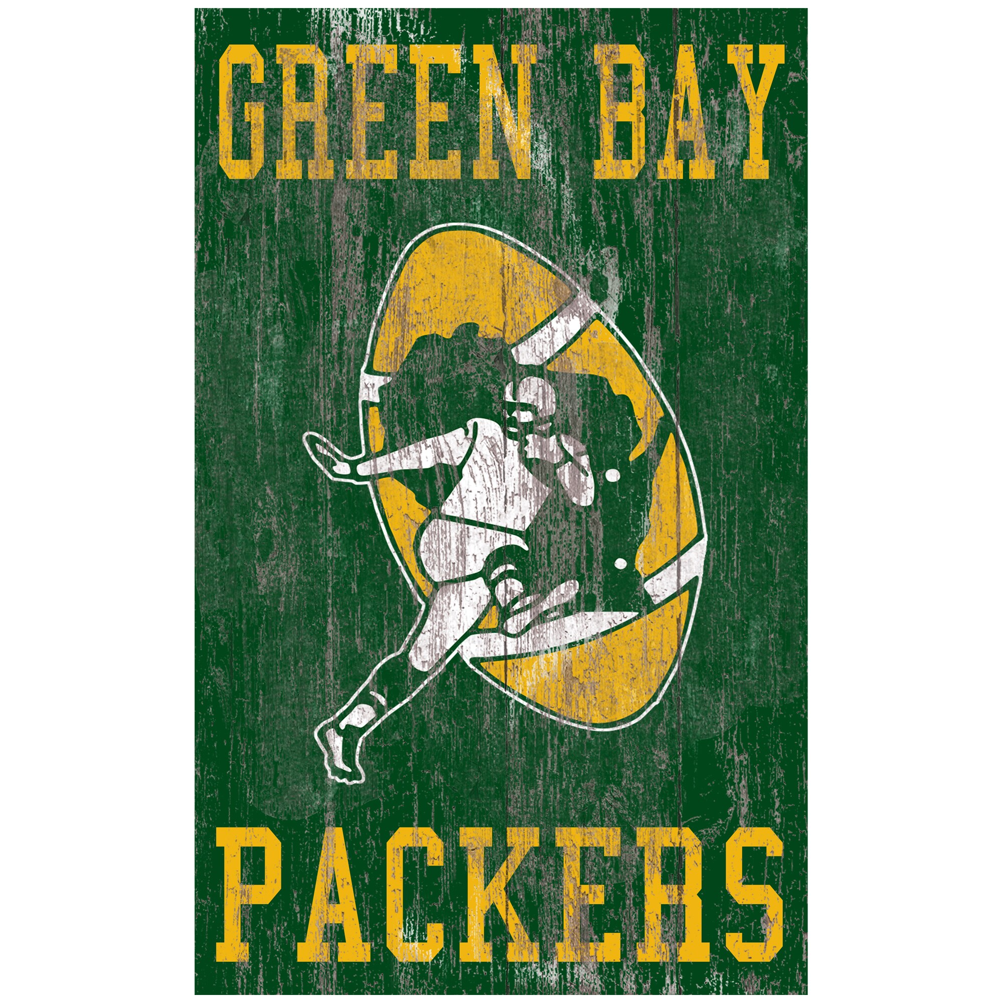 Green Bay Packers 11'' x 19'' Heritage Distressed Logo Sign