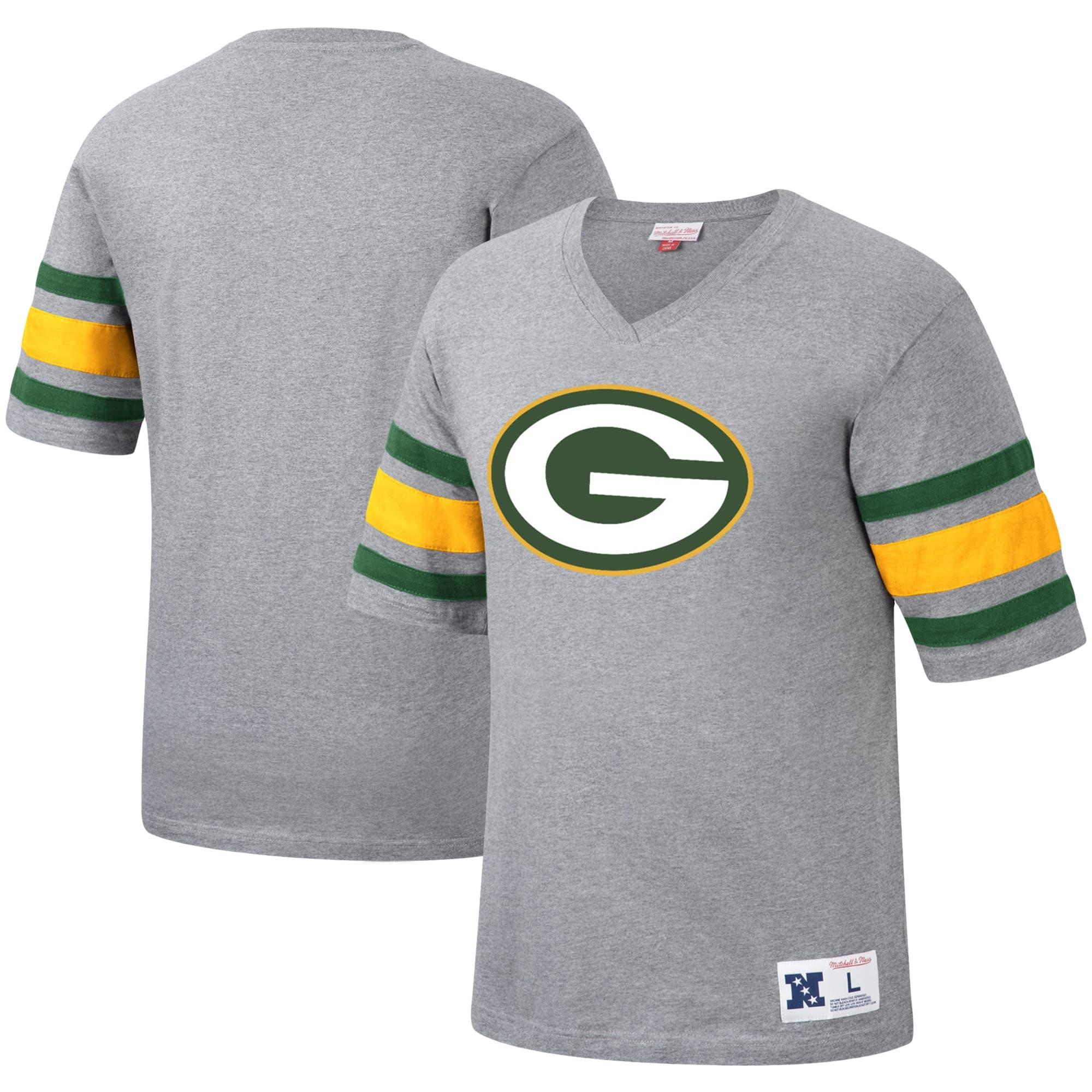 Green Bay Packers Mitchell & Ness Post Season Run V-Neck T-Shirt - Heathered Gray