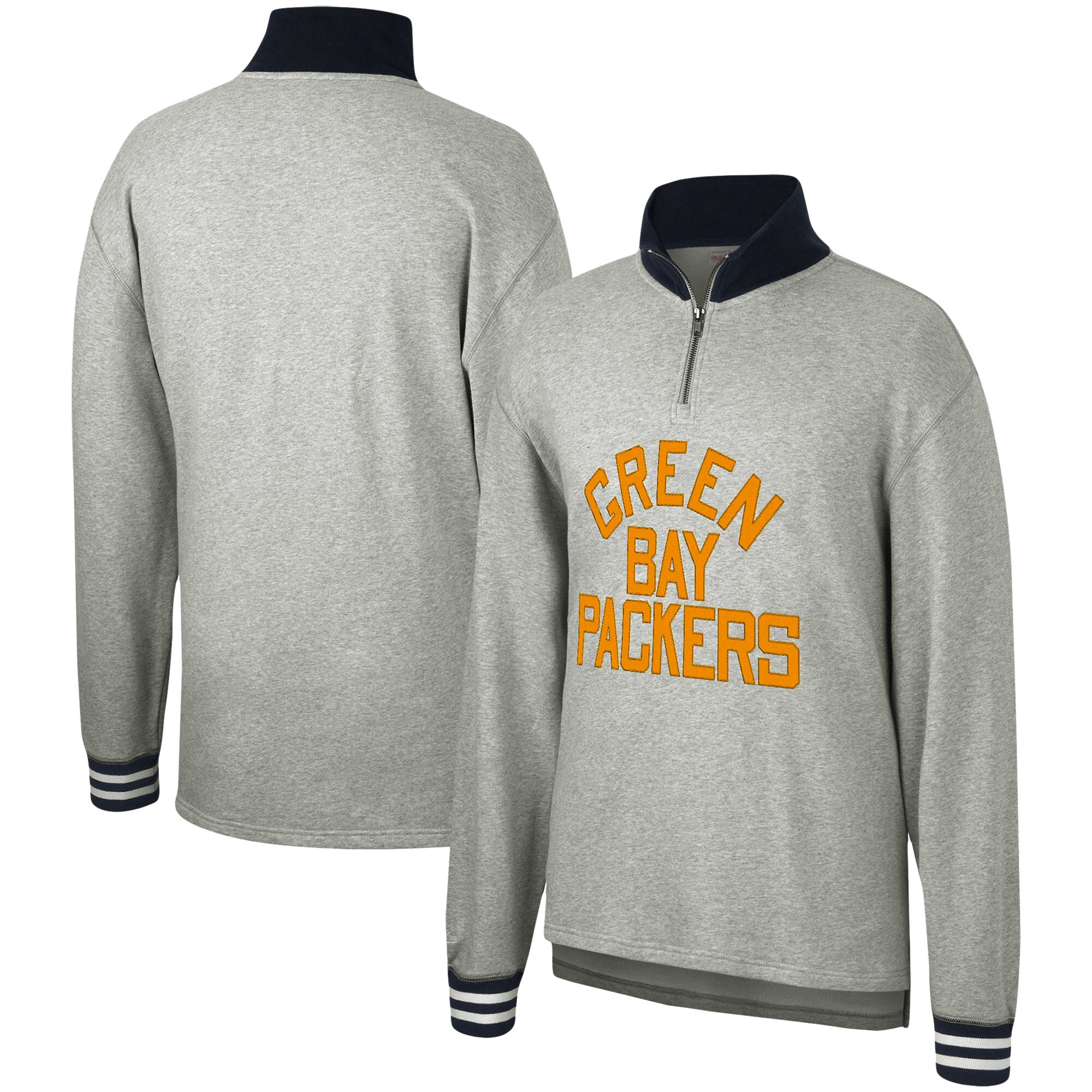 Green Bay Packers Mitchell & Ness Sealed the Victory Quarter-Zip Pullover Jacket - Heathered Gray
