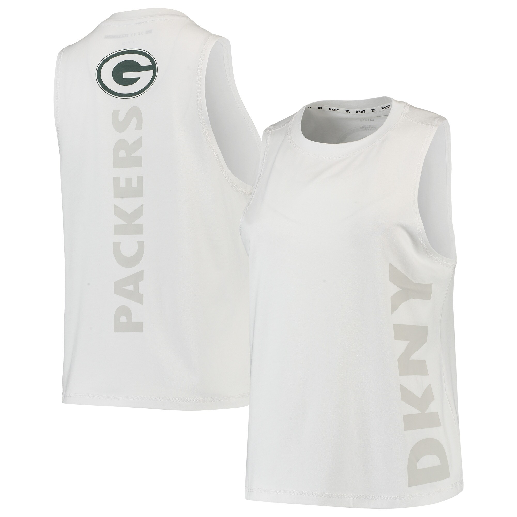Green Bay Packers DKNY Sport Women's Olivia Tri-Blend Tank Top - White