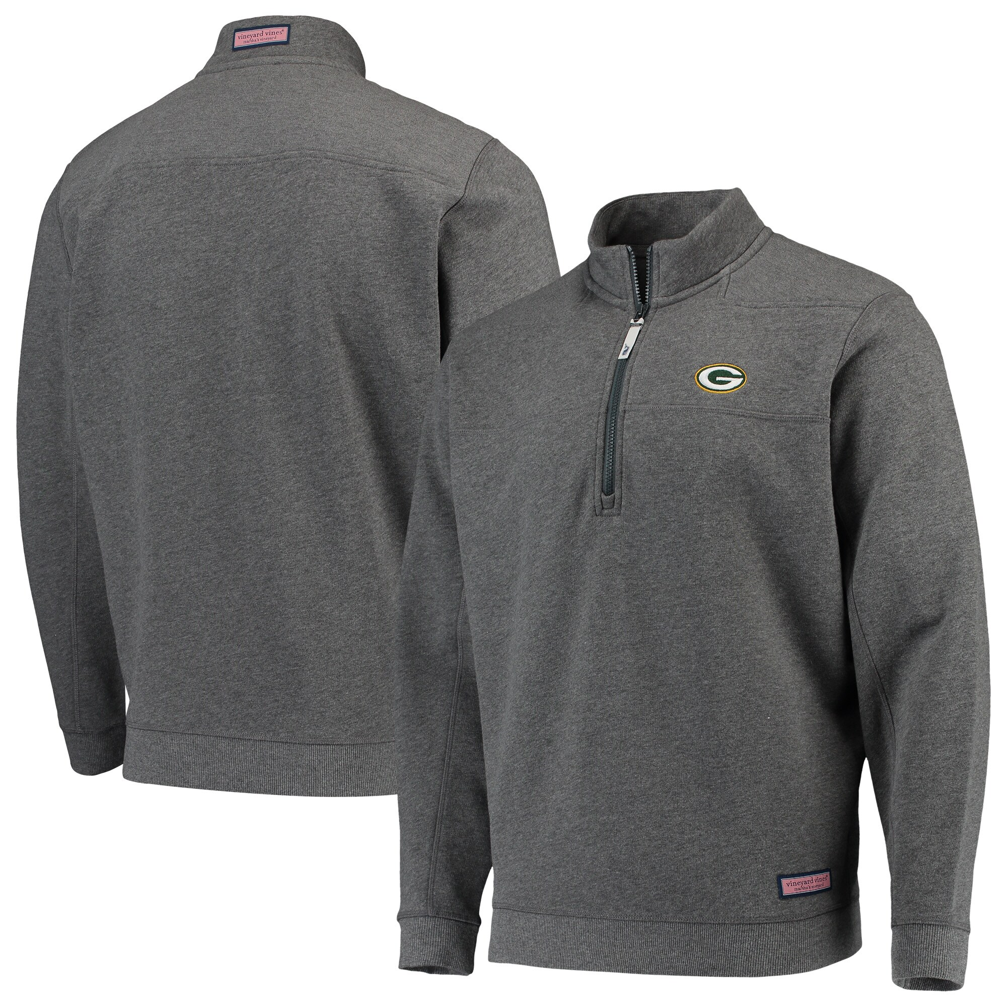 Green Bay Packers Vineyard Vines Collegiate Shep Shirt Quarter-Zip Pullover Jacket - Heather Charcoal