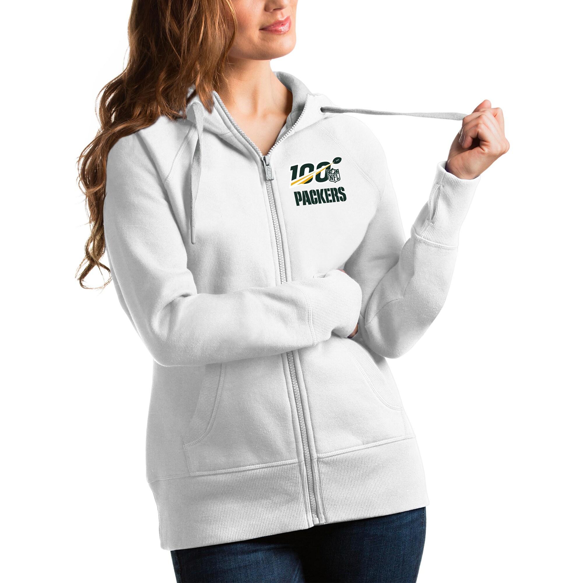 Green Bay Packers Antigua Women's NFL 100 Victory Full-Zip Hoodie - White