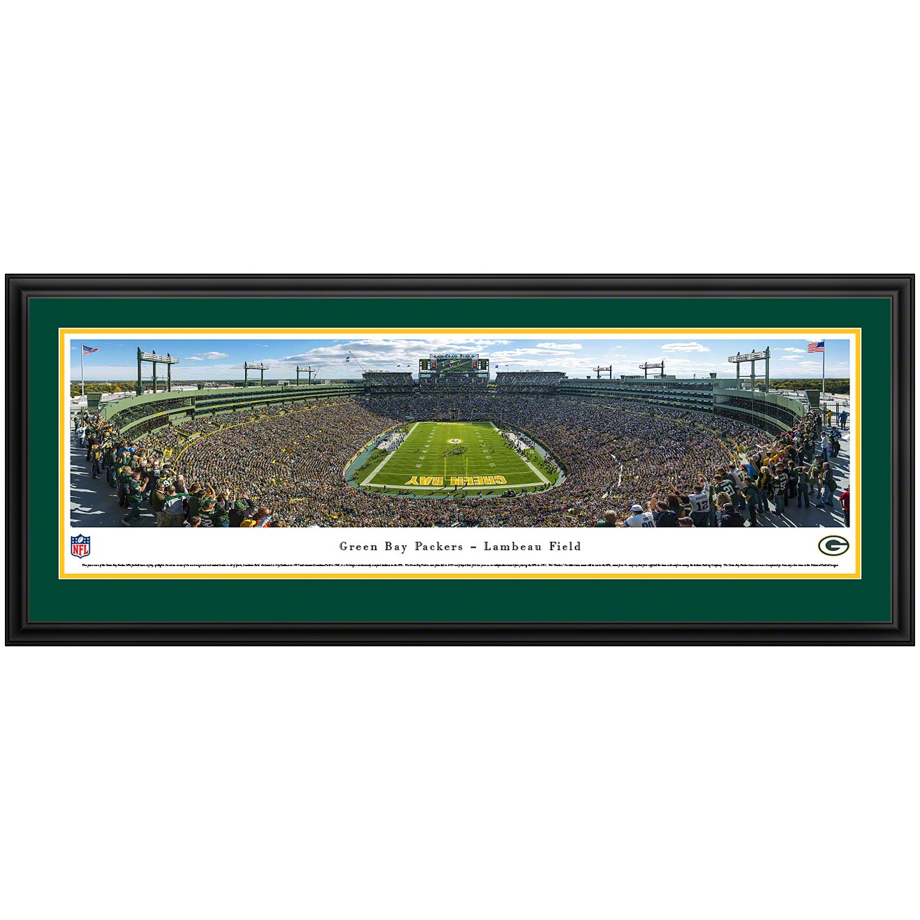 "Green Bay Packers 44"" x 18"" End Zone Deluxe Frame Panoramic Photo"