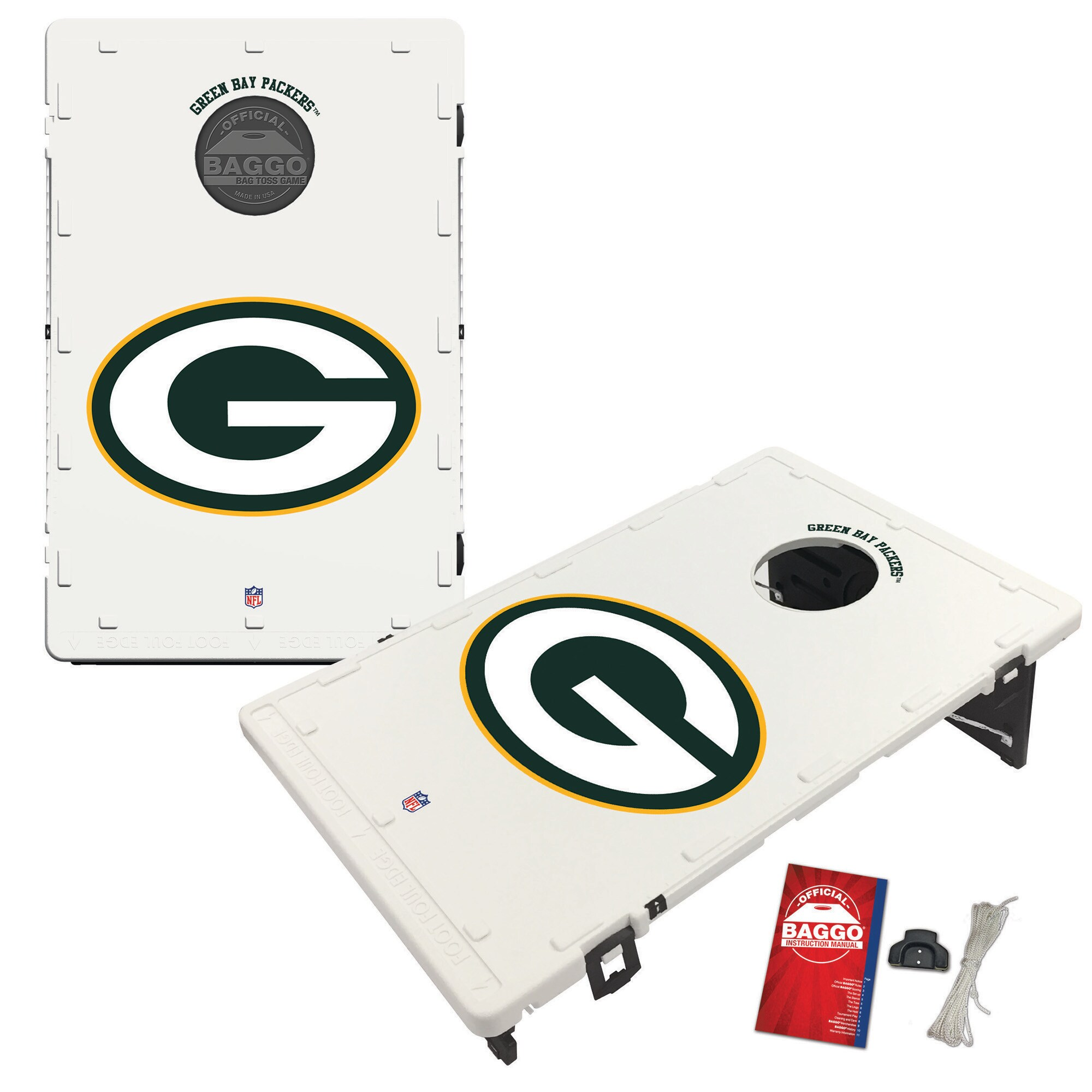 Green Bay Packers 2' x 3' Classic Design BAGGO Cornhole Board Tailgate Toss Set